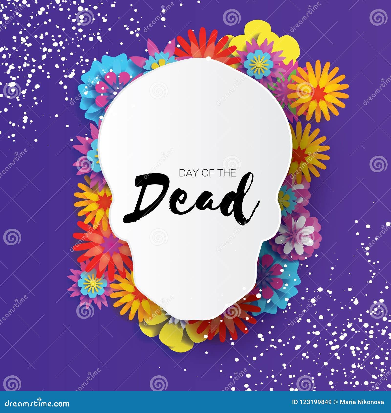 停止的日 纸裁减文本的头骨框架 墨西哥庆祝 Dia在紫色的de muertos Origami cempasuchil