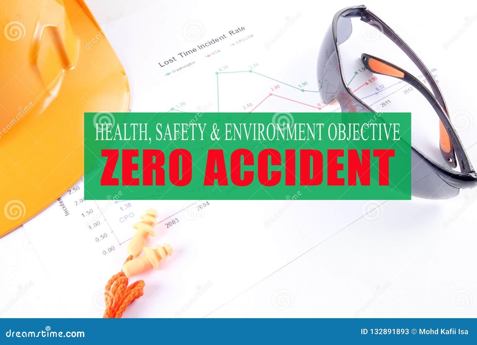 健康、安全&环境宗旨:与黄色的零的事故