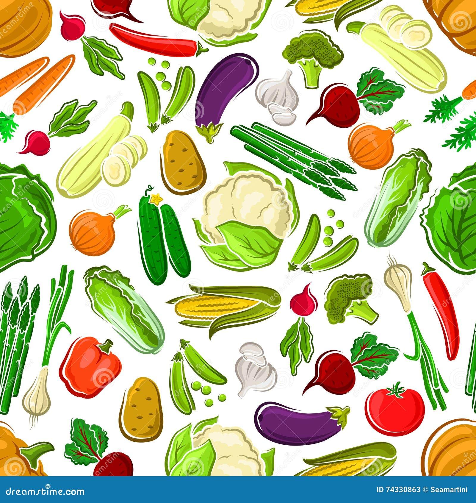 健康和未加工的农厂菜无缝的样式