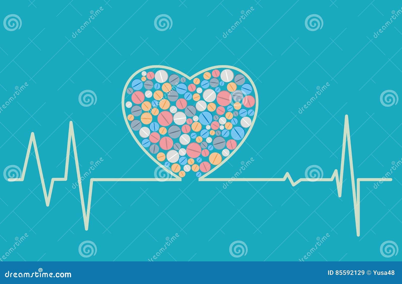 健康概念-一张心形的心电图包括片剂