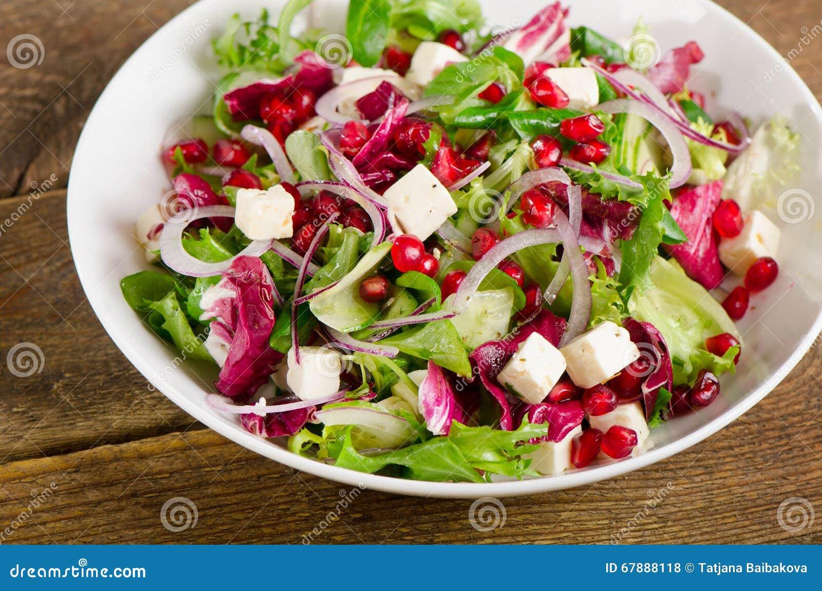 健康沙拉用希脂乳和石榴
