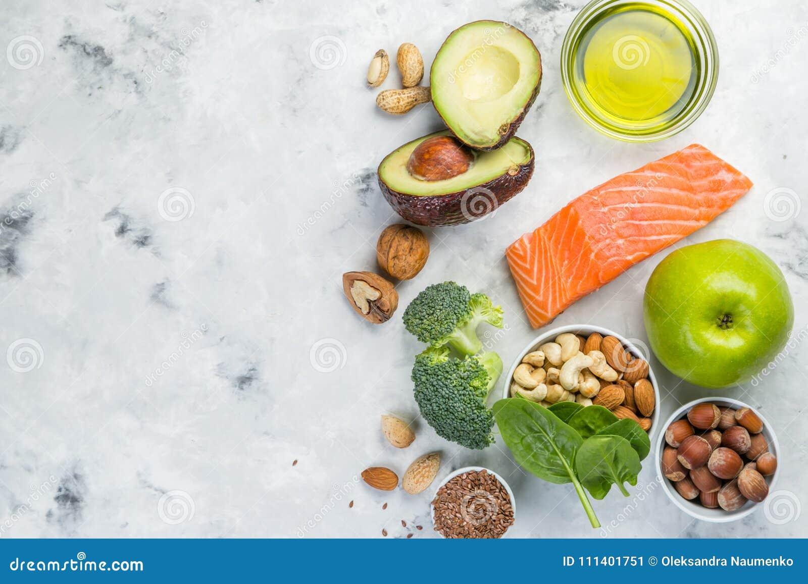 健康食物来源的选择-健康吃概念 能转化为酮的饮食概念