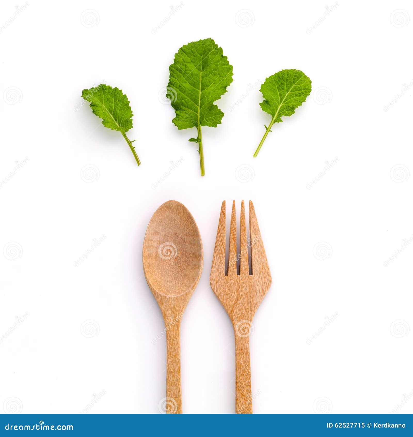 健康食物概念新有机绿色离开与木叉子