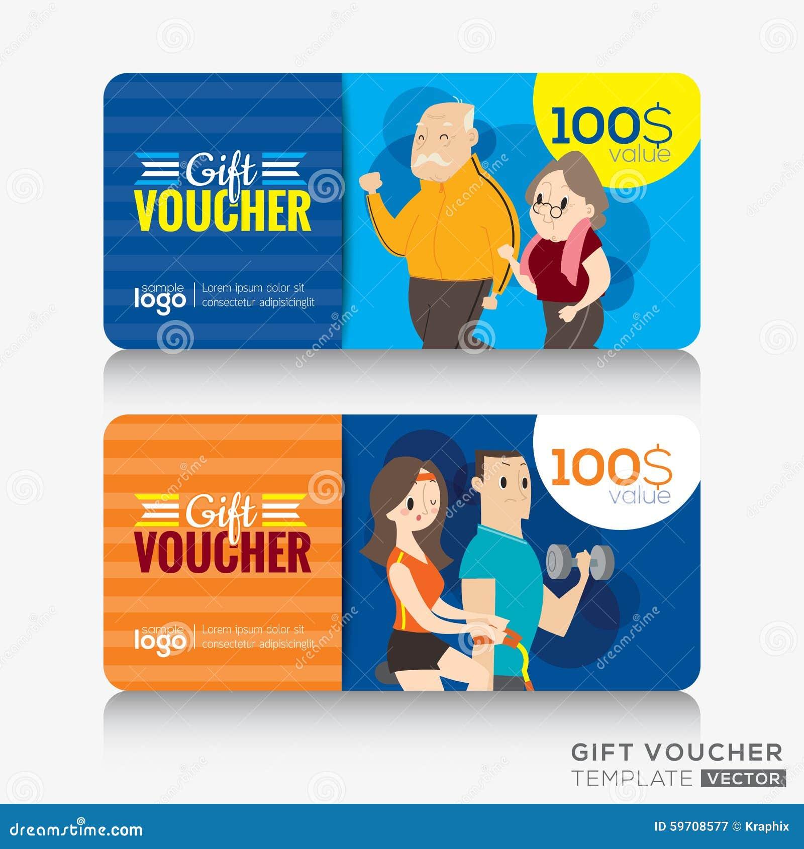 健身中心健身房优惠券证件或礼品券设计模板