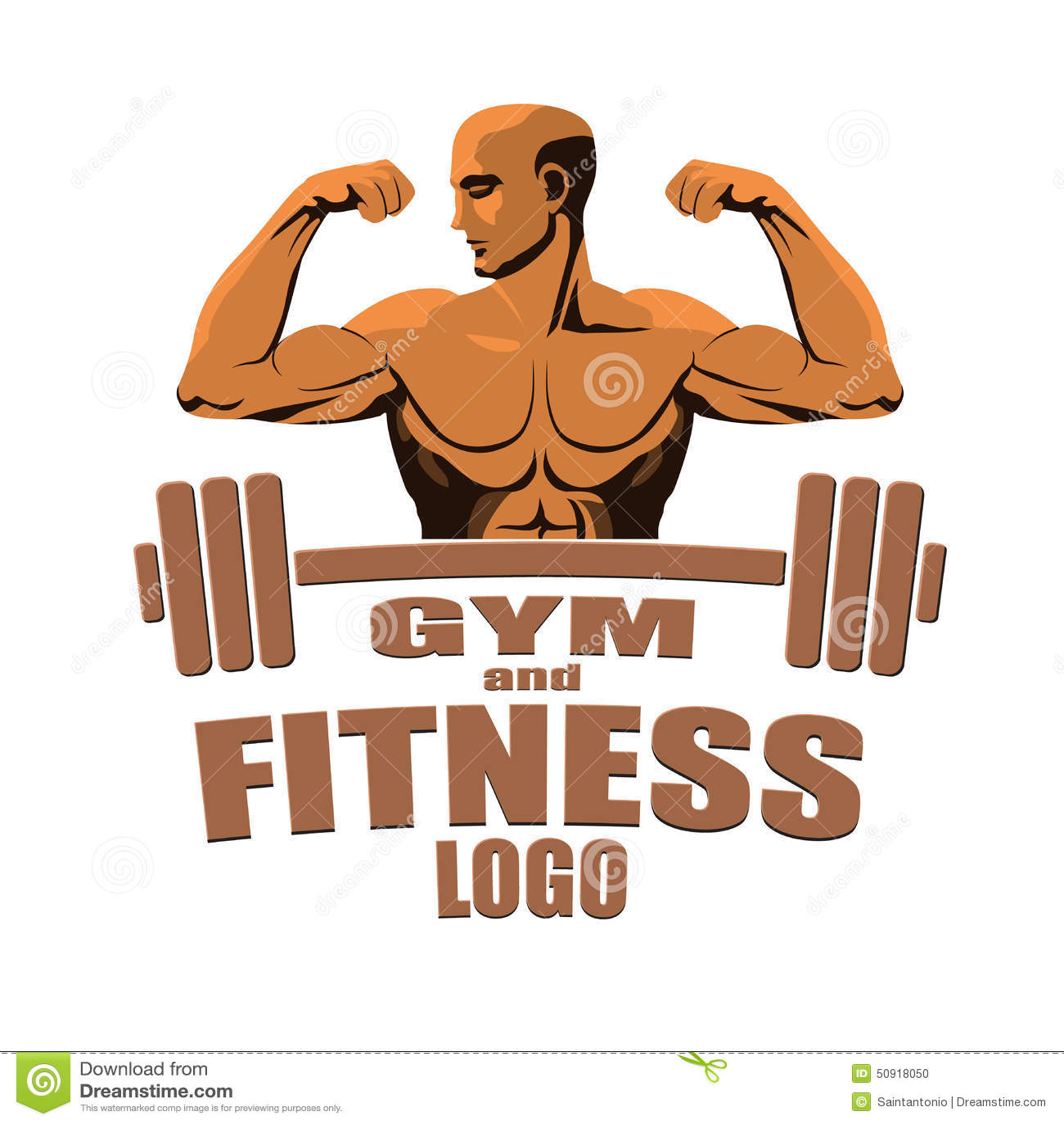 健身健身房商标显示二头肌的大模型爱好健美者隔绝在白色背景.图片