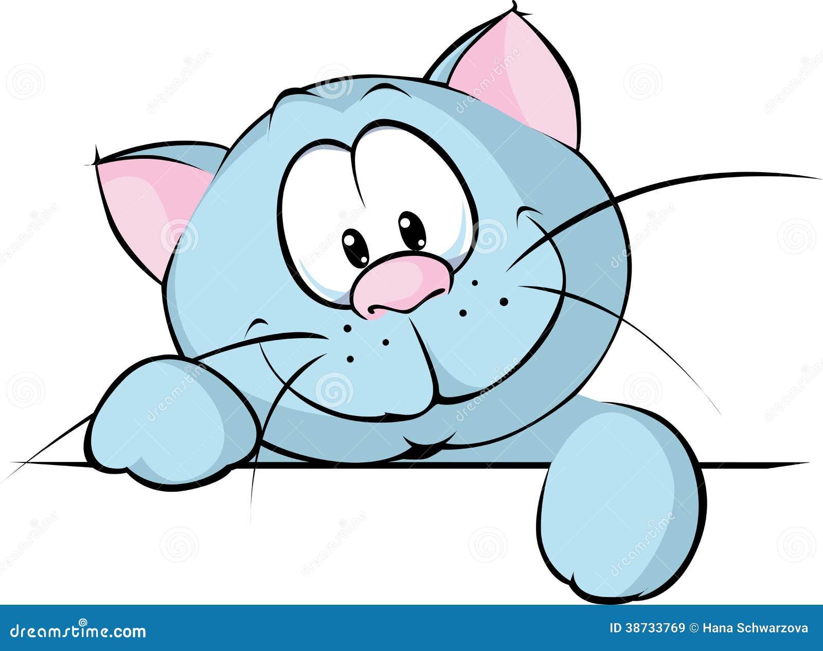 偷看从书桌的后面英国蓝色猫隔绝在白色背景-动画片例证.图片