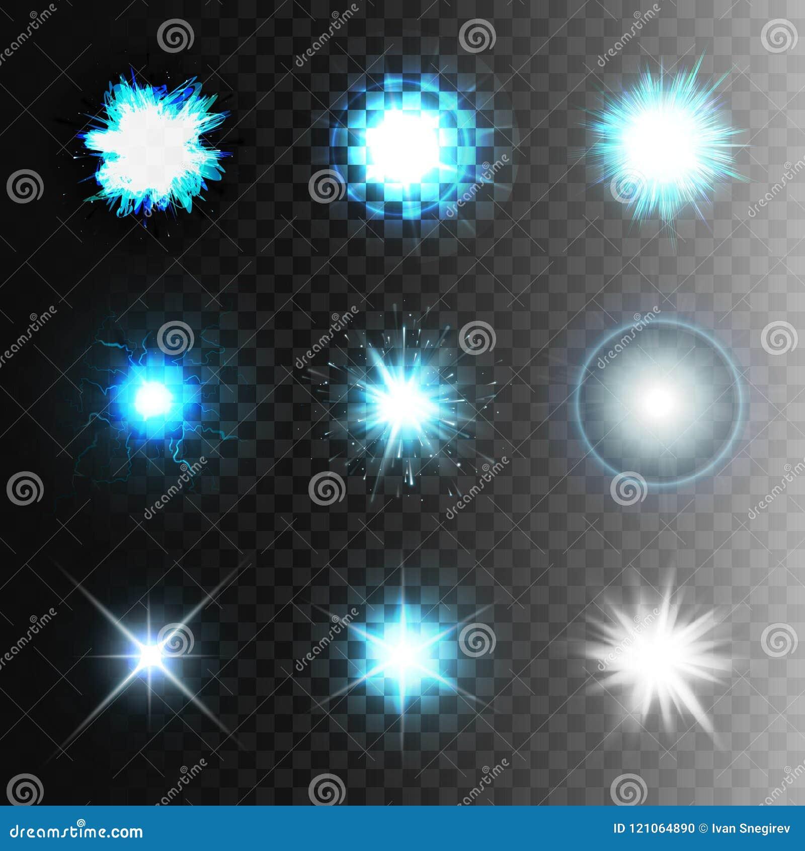 储蓄传染媒介例证集合球闪电透明背景 抽象等离子球形 放电,星,闪光,