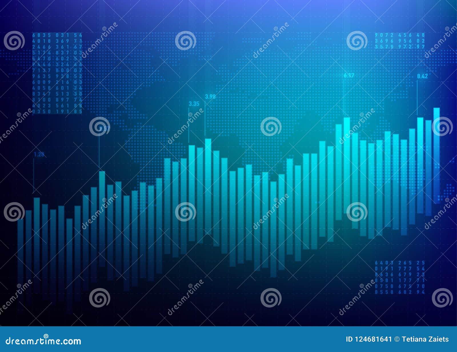 储蓄图表市场 3d图表财务高质量回报 成长企业蓝色传染媒介背景 政券数据网上银行