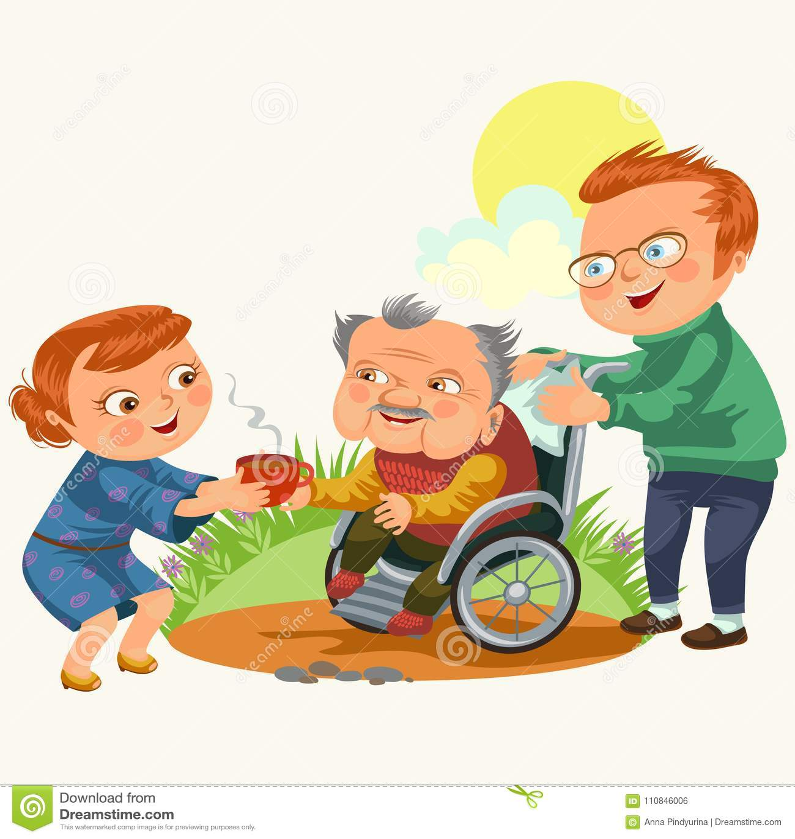 儿子和女儿关心使父母,坐在轮椅,愉快的父亲节背景,资深障碍人妇女的爸爸失去能力