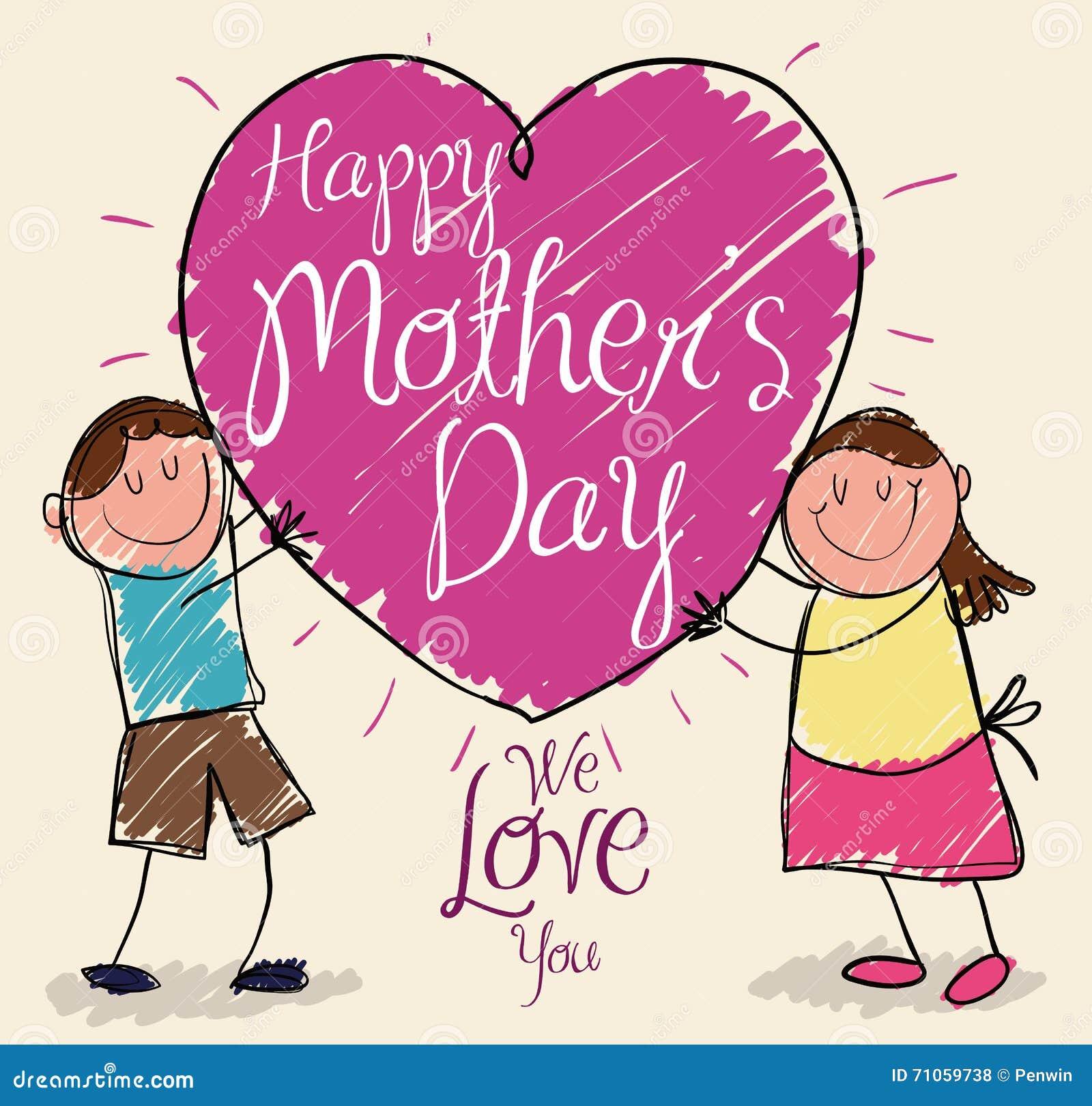 儿子和女儿妈妈的礼物图画在母亲节,传染媒介图片