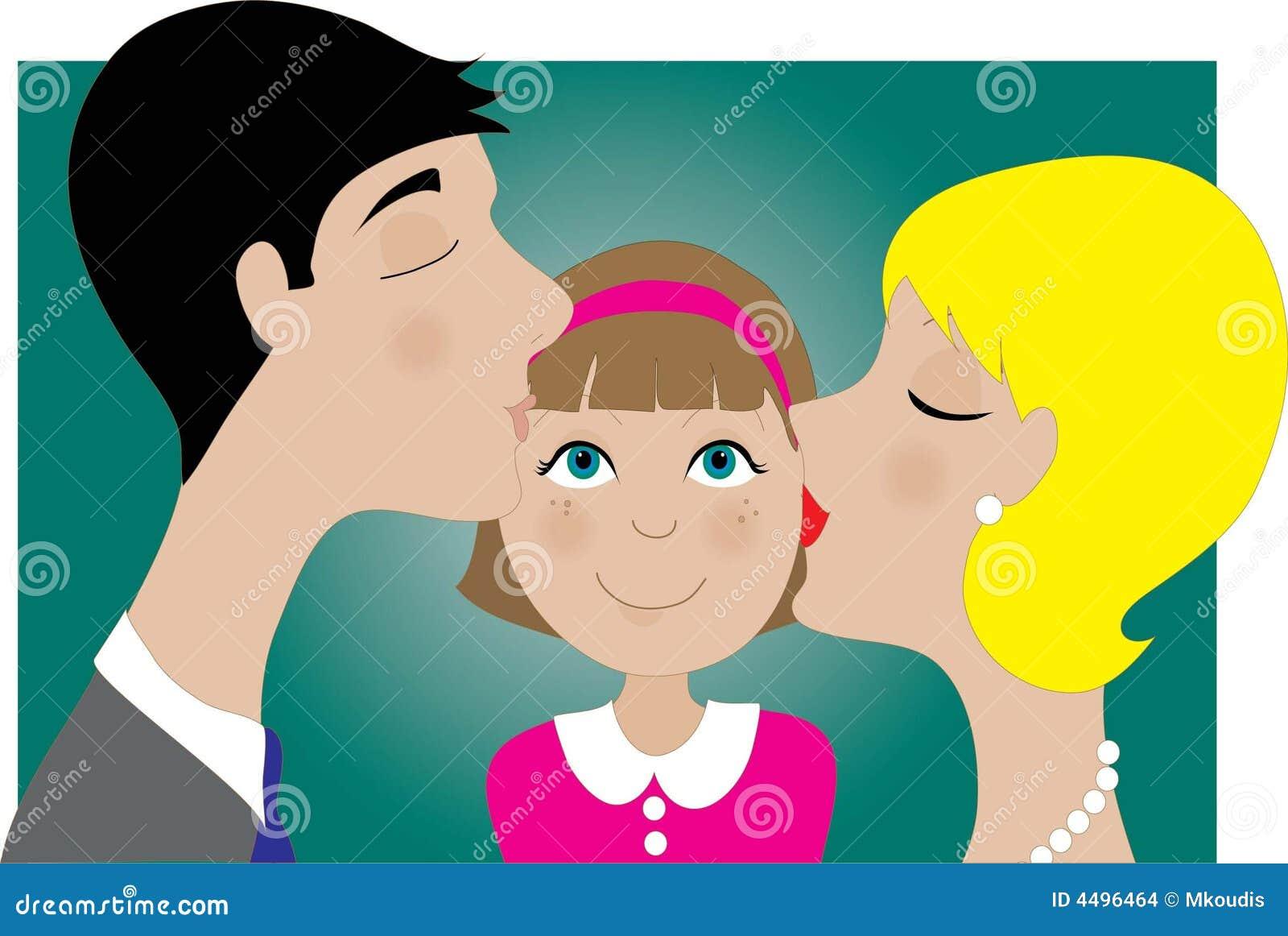 儿童亲吻父项