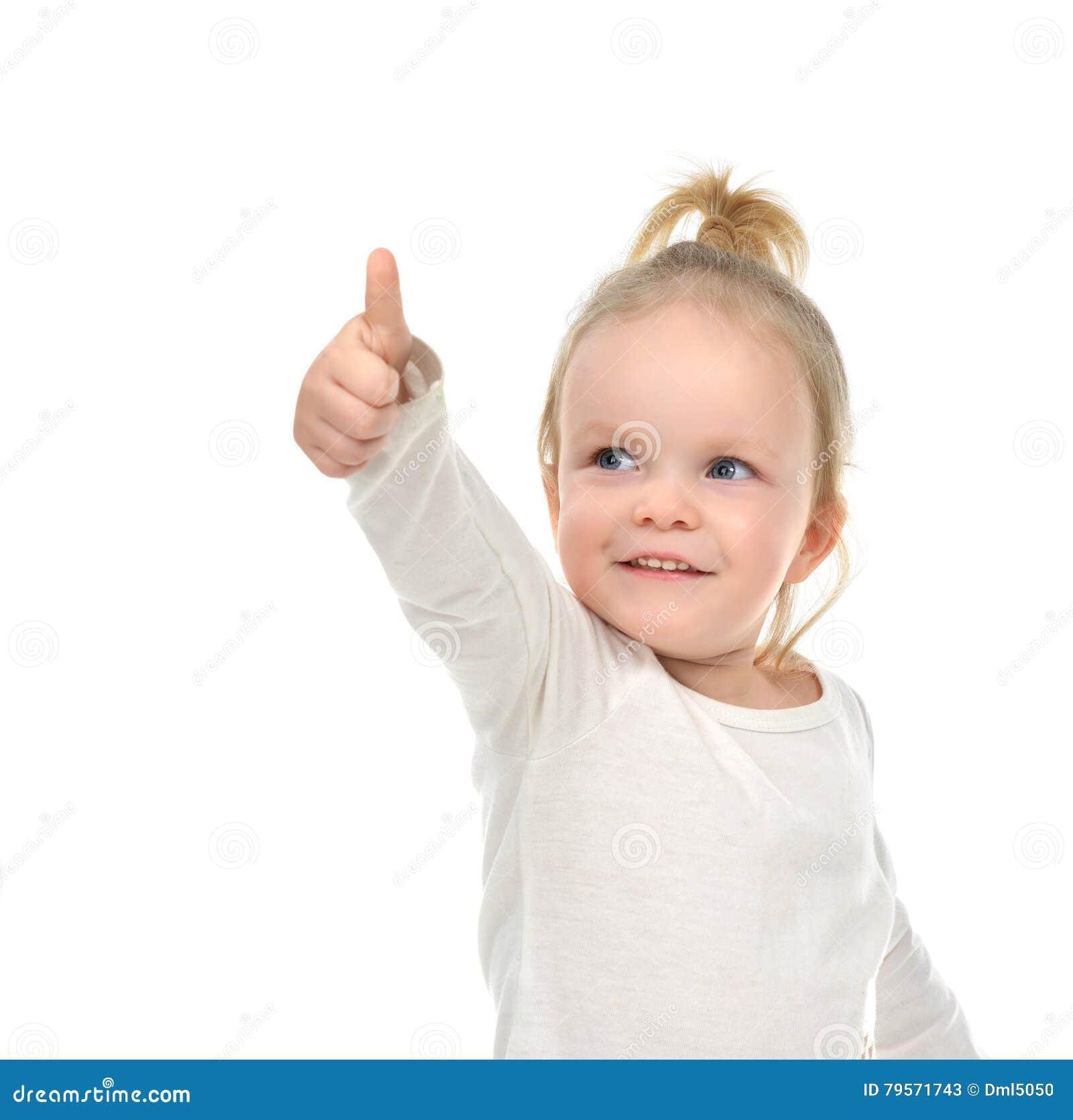 儿童女婴愉快查找微笑与手赞许标志