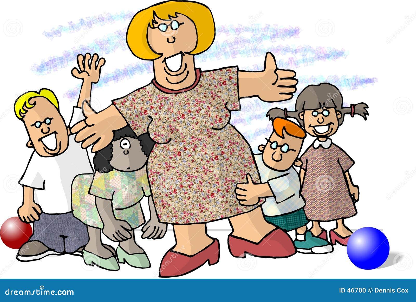 儿童小的包围的妇女