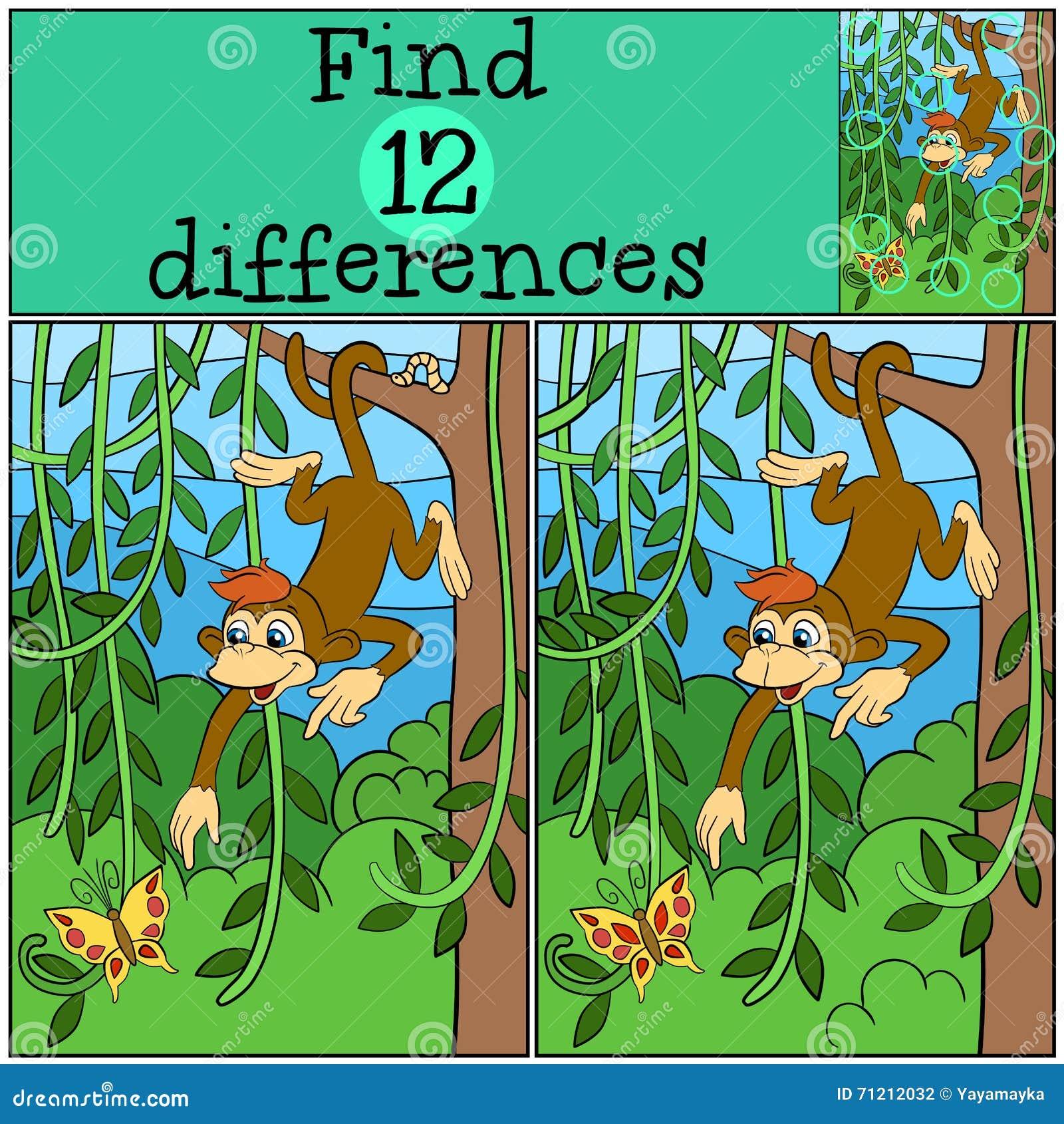 儿童比赛:发现区别 小的逗人喜爱的猴子