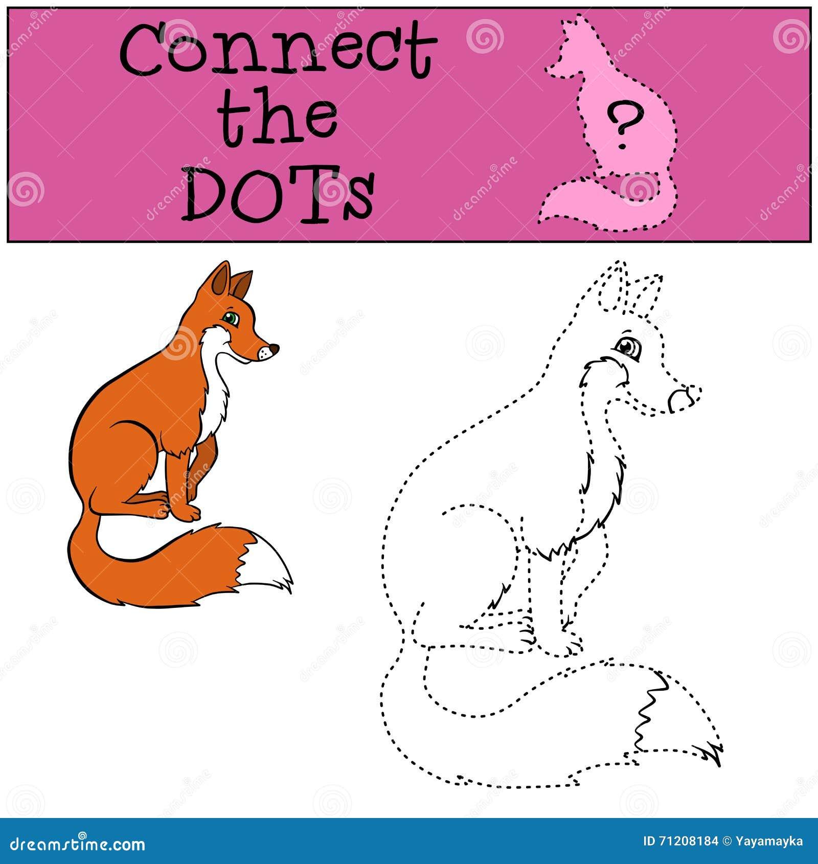 儿童比赛:连接小点 小的逗人喜爱的狐狸