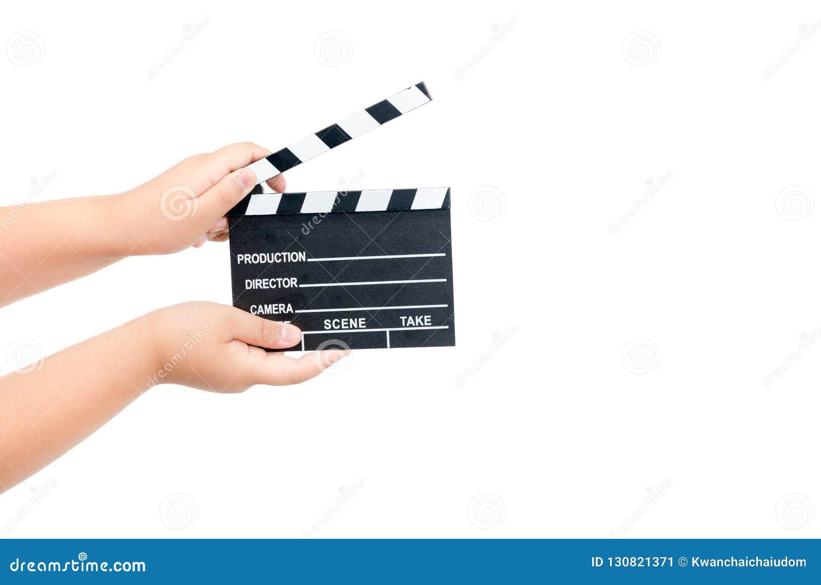 儿童藏品在白色隔绝的电影拍板
