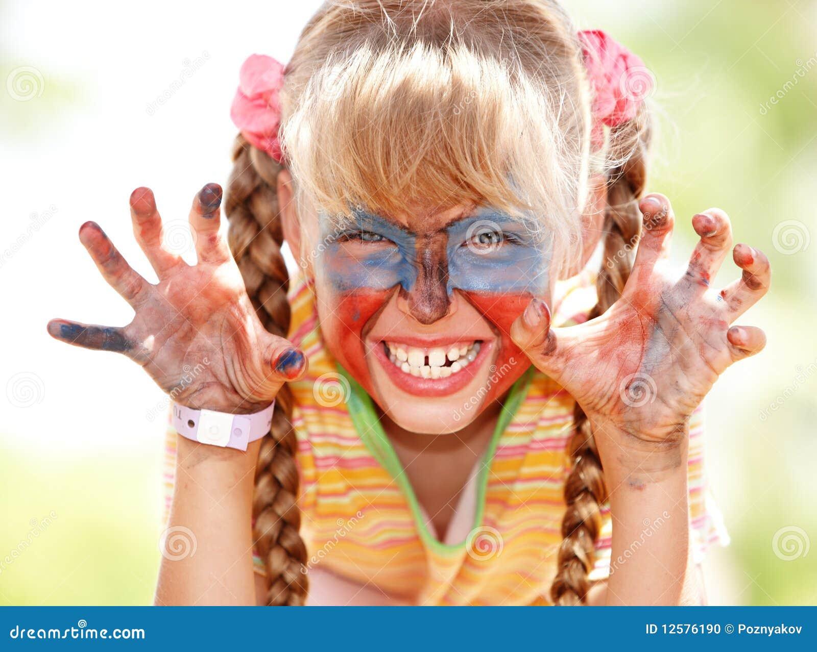 儿童表面女孩油漆