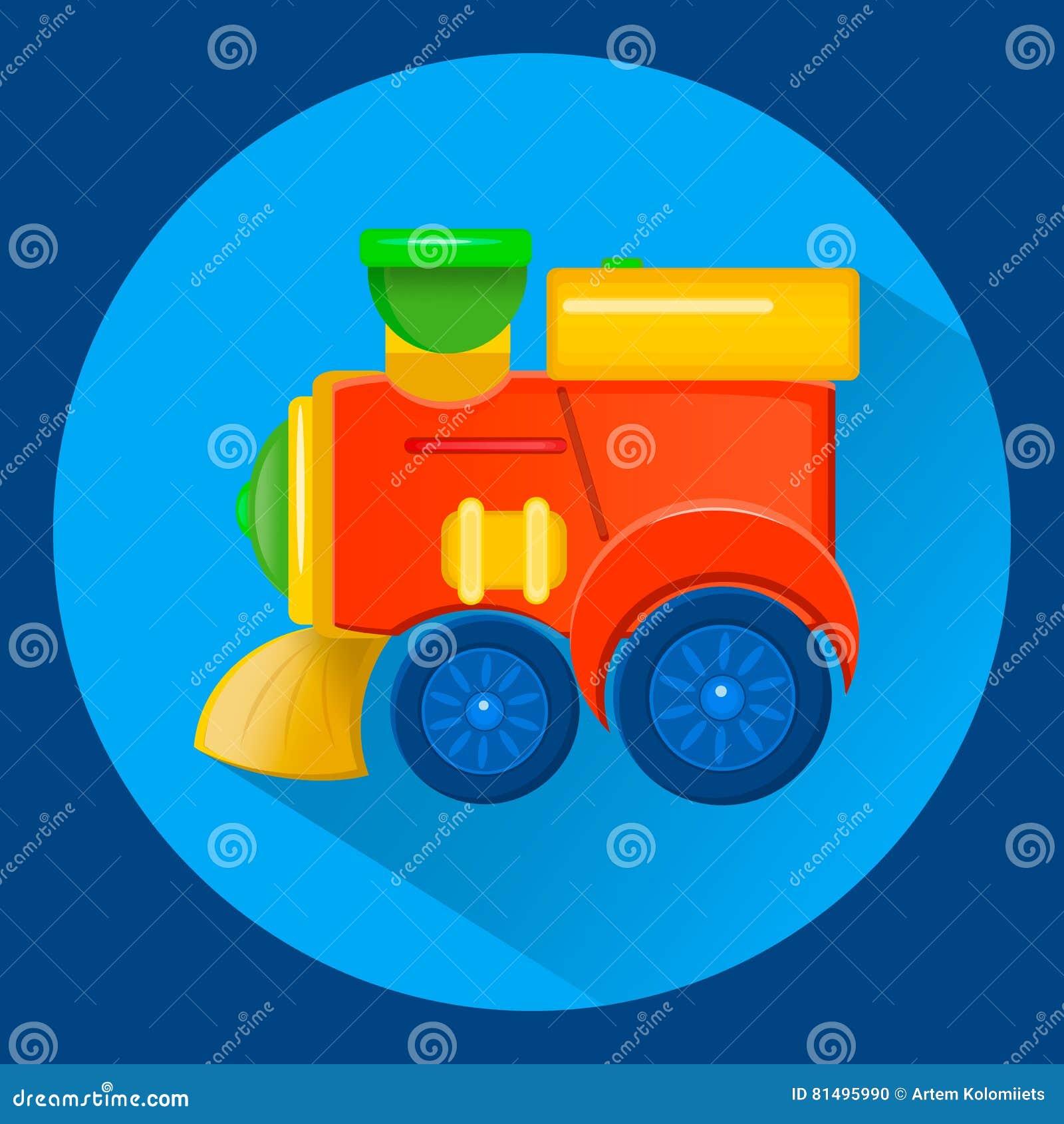 儿童` s玩具火车平的syle 上色充满活力