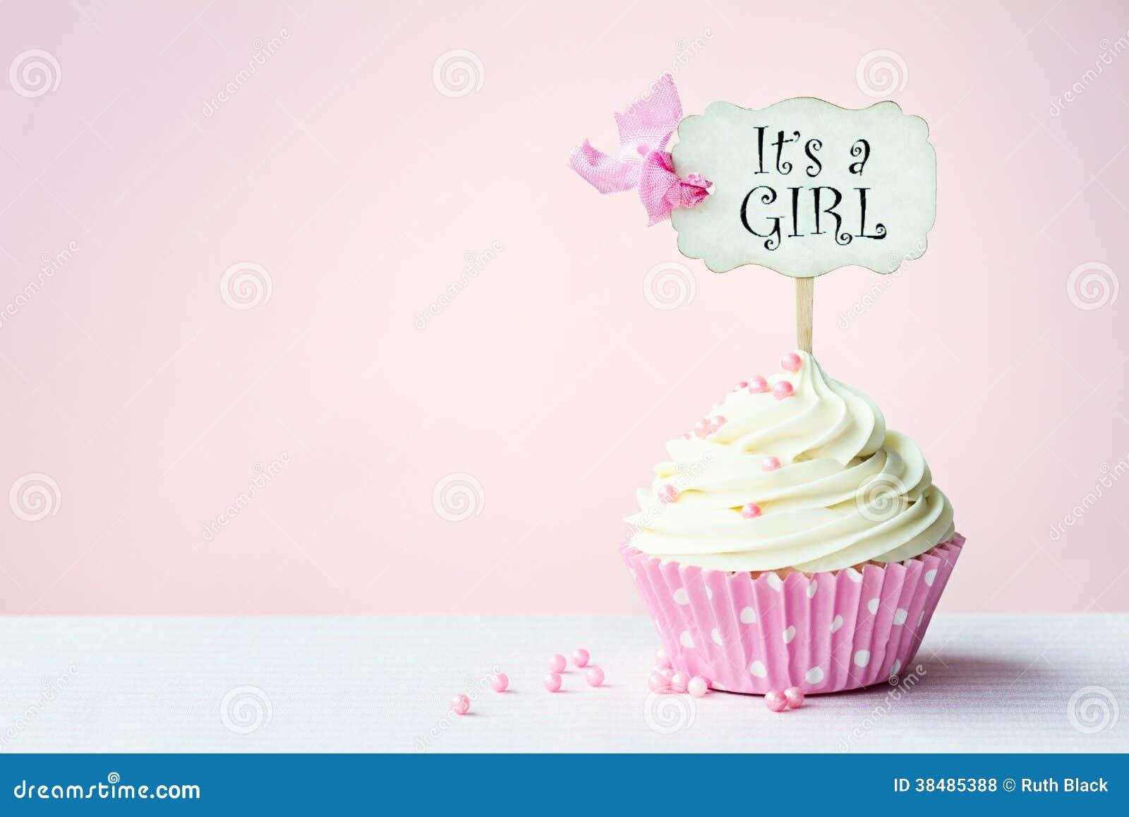 婴儿送礼会杯形蛋糕