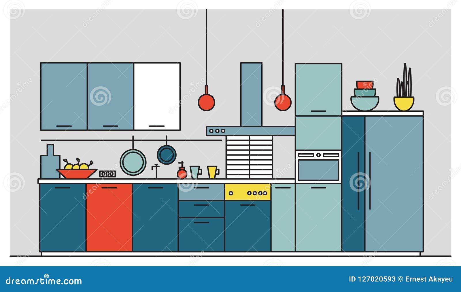 充分厨房现代家具,家用电器,炊具,烹调设施、设备和家庭装饰