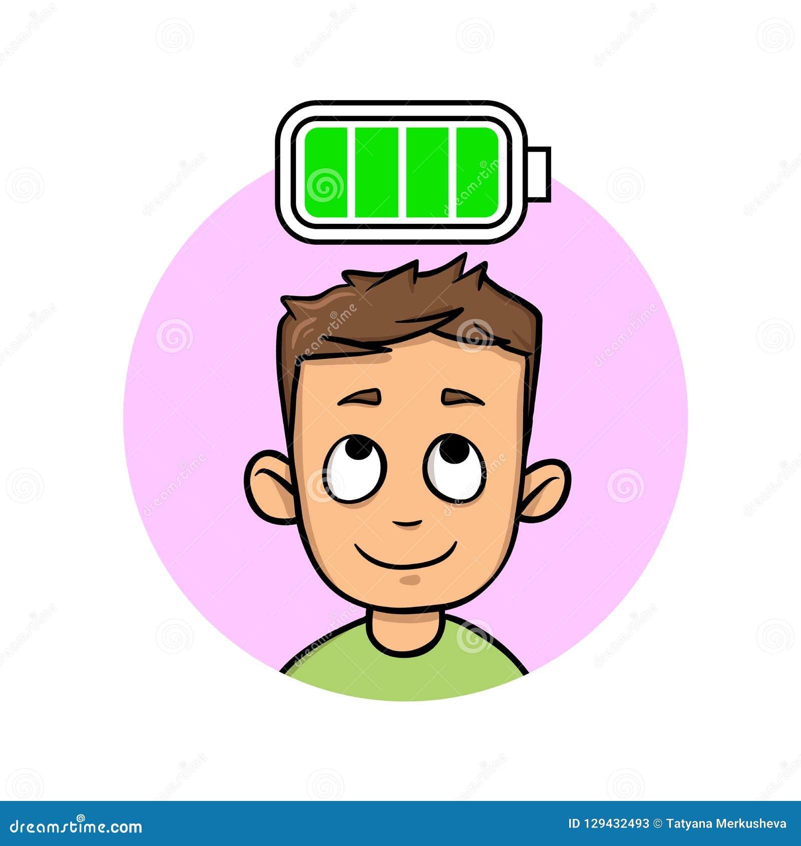 充分年轻人能量,充分地被充电的电池 平的传染媒介例证 背景查出的白色