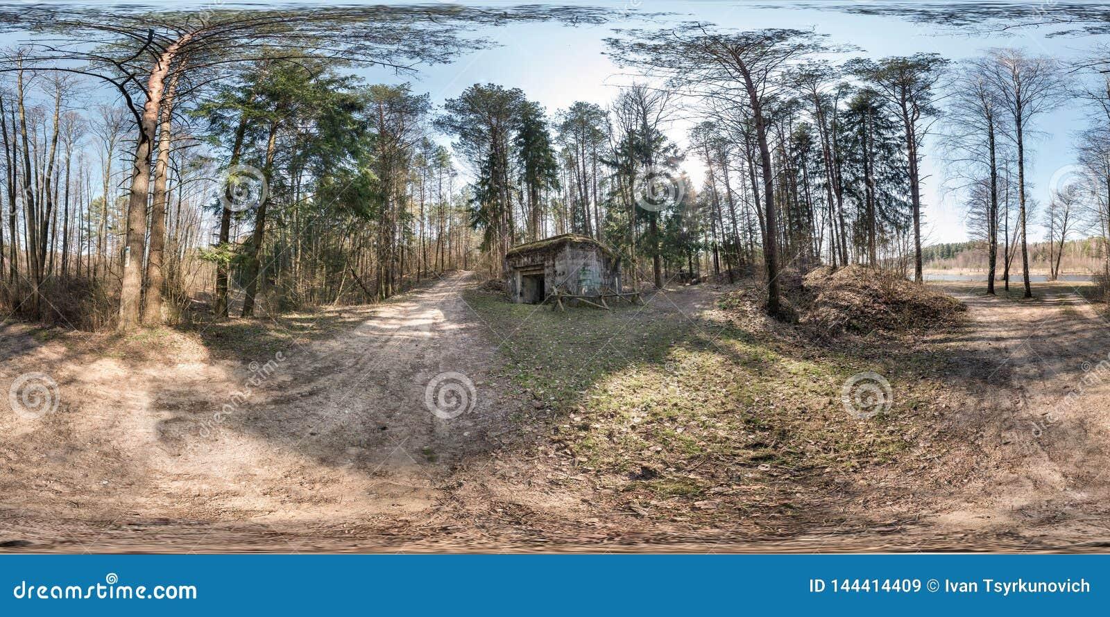 充分的无缝的球状hdri全景360度在石头被放弃的被破坏的军事地堡大厦附近的角度图在杉木森林里