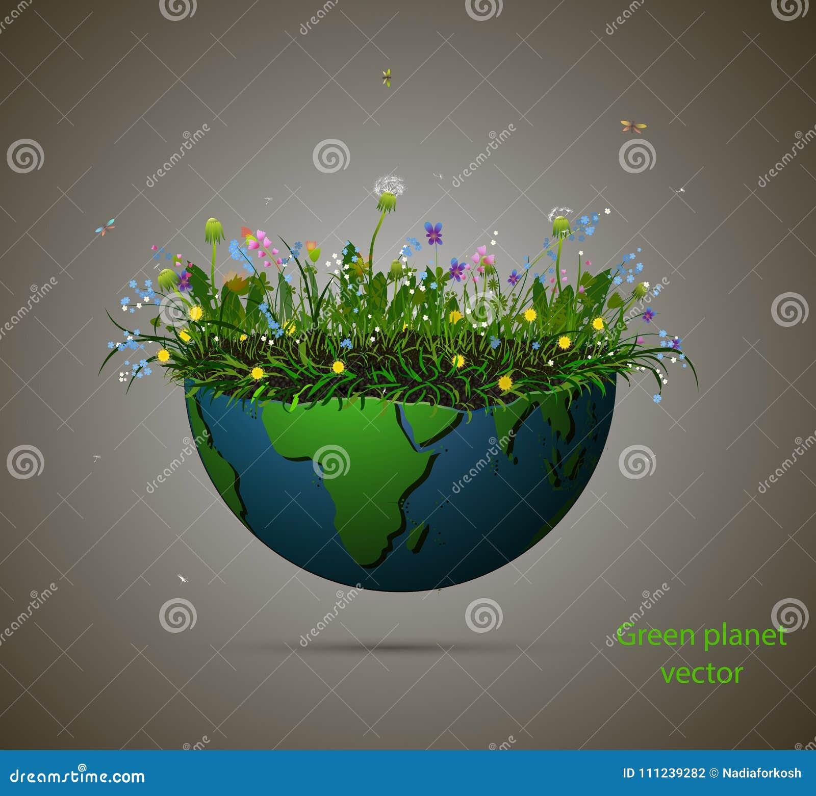 充分行星地球片断生长夏天花、开花的行星被隔绝的和文本绿色行星,绿色行星