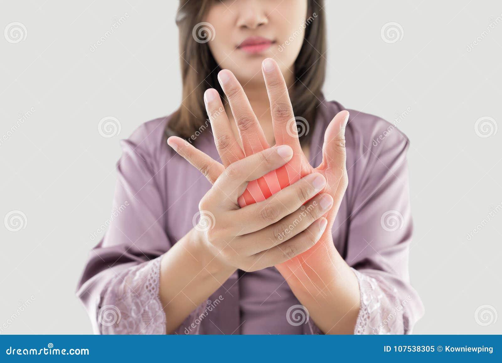 充满手痛苦的妇女
