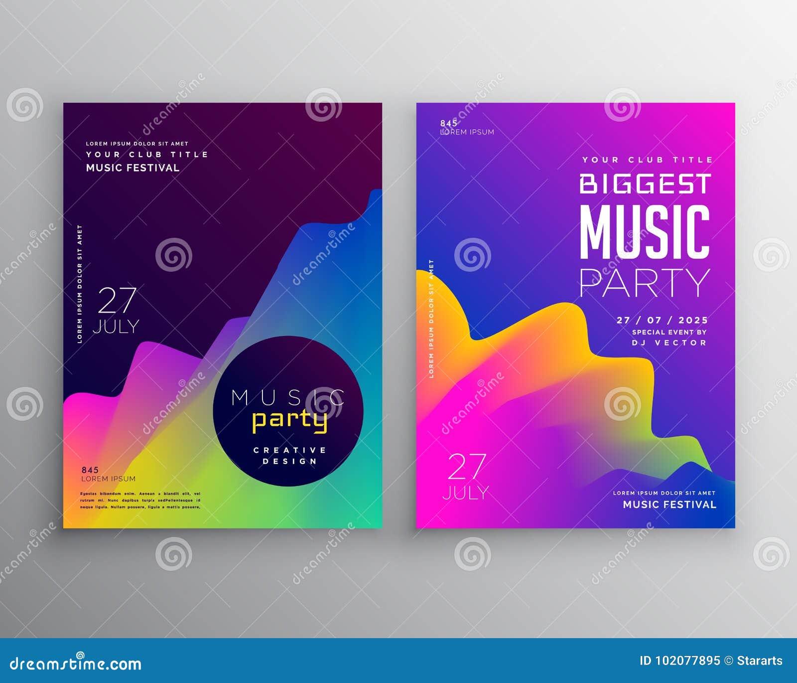 充满活力的抽象音乐党事件飞行物海报模板设计