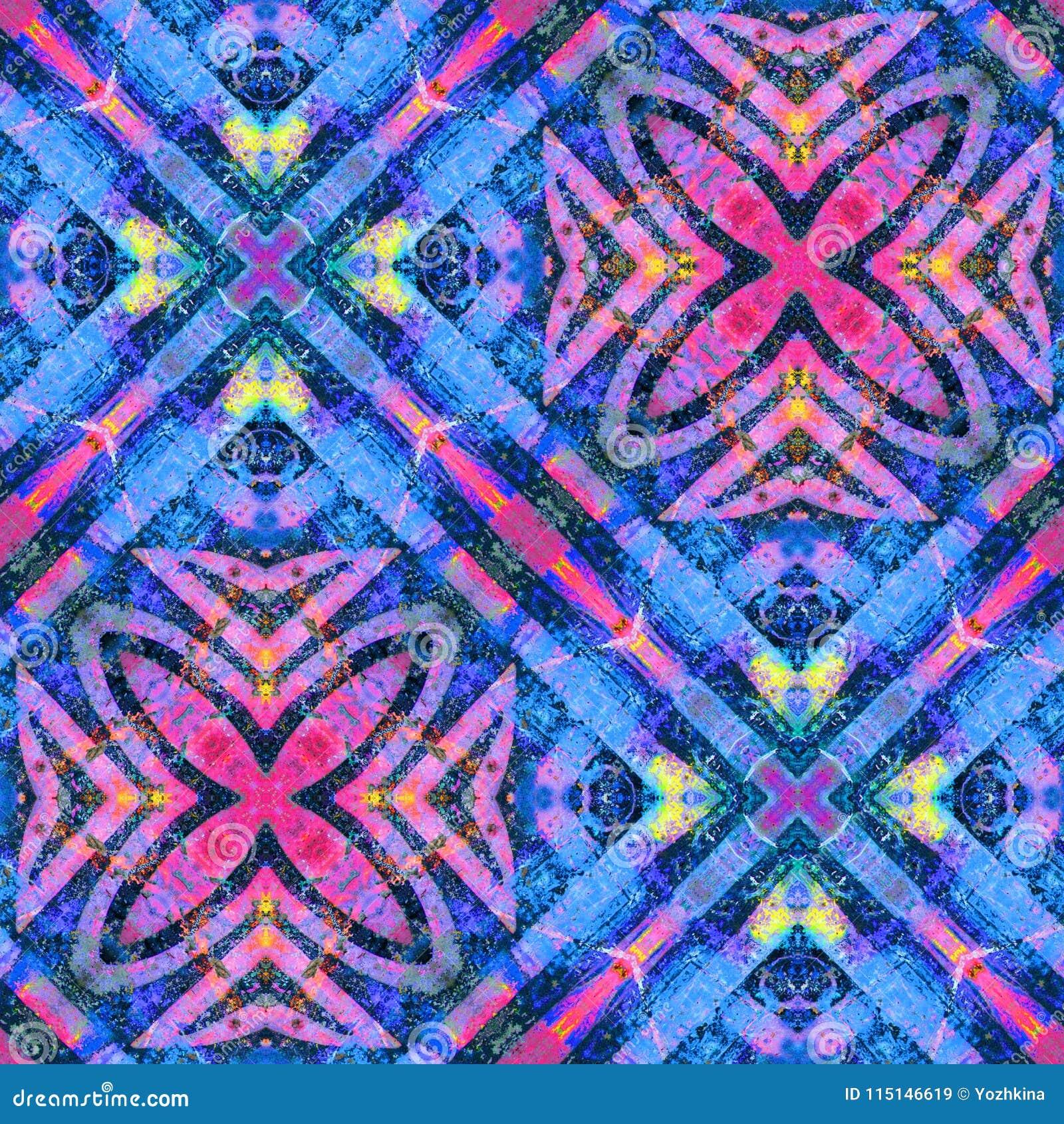 充满活力的颜色铺磁砖的线和花无缝的样式设计