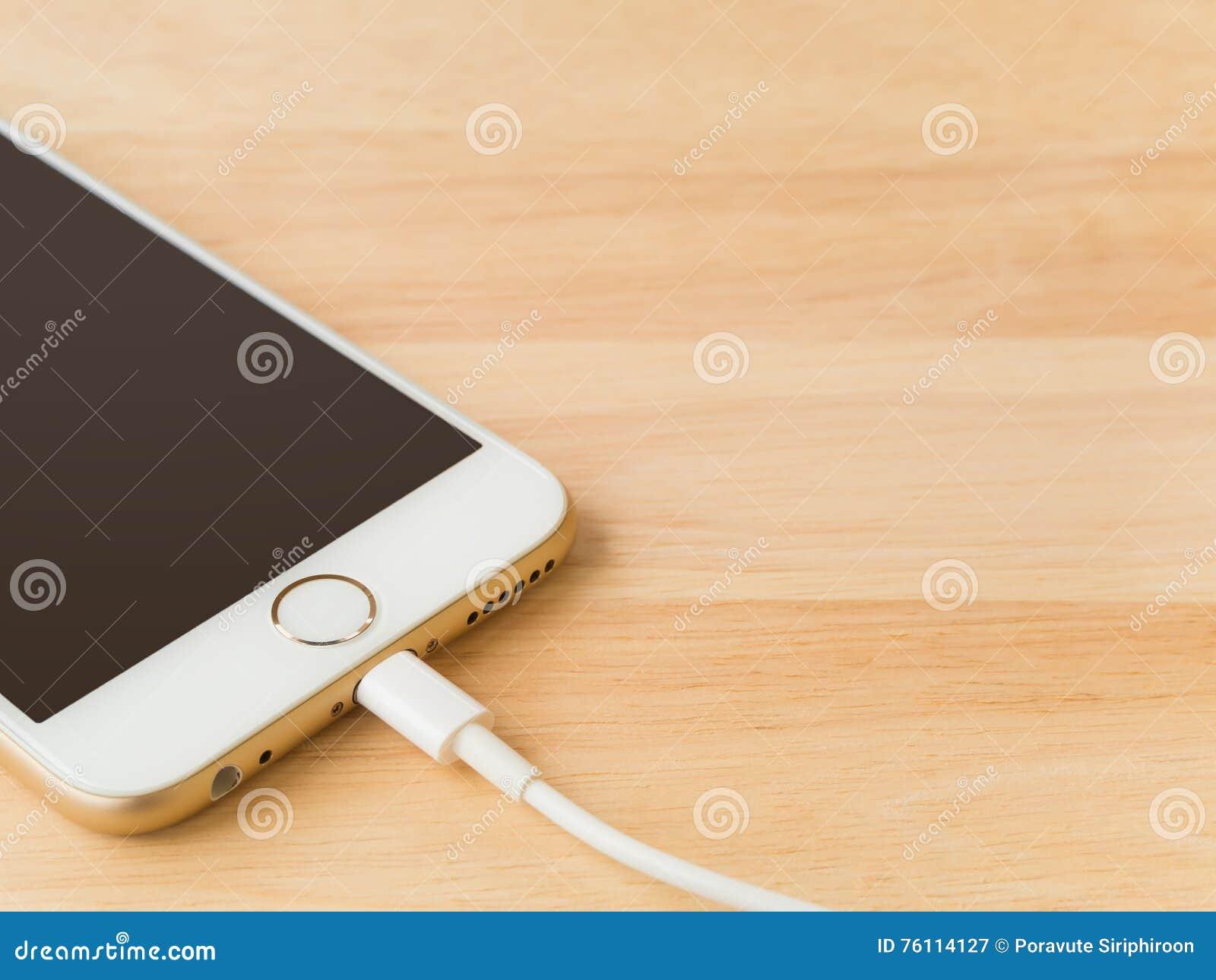 充电与闪电USB缆绳的苹果计算机iPhone6