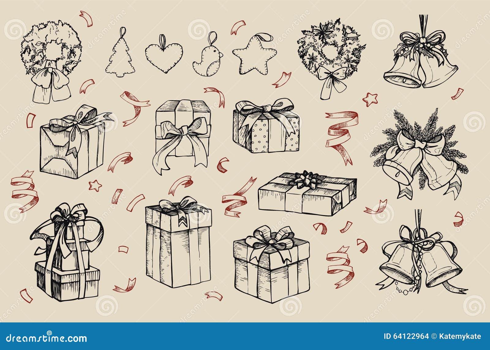兆葡萄酒集合 手拉的传染媒介例证-圣诞快乐