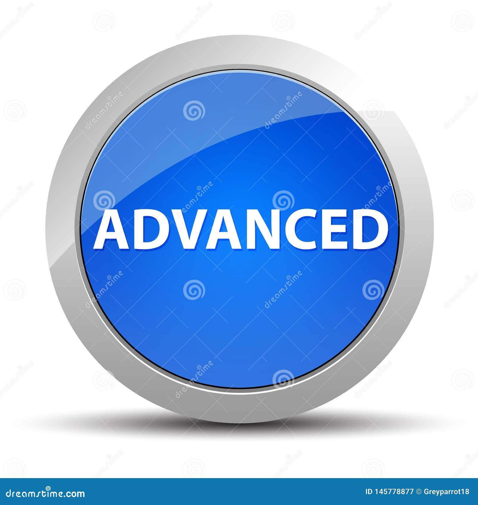 先进的蓝色圆的按钮
