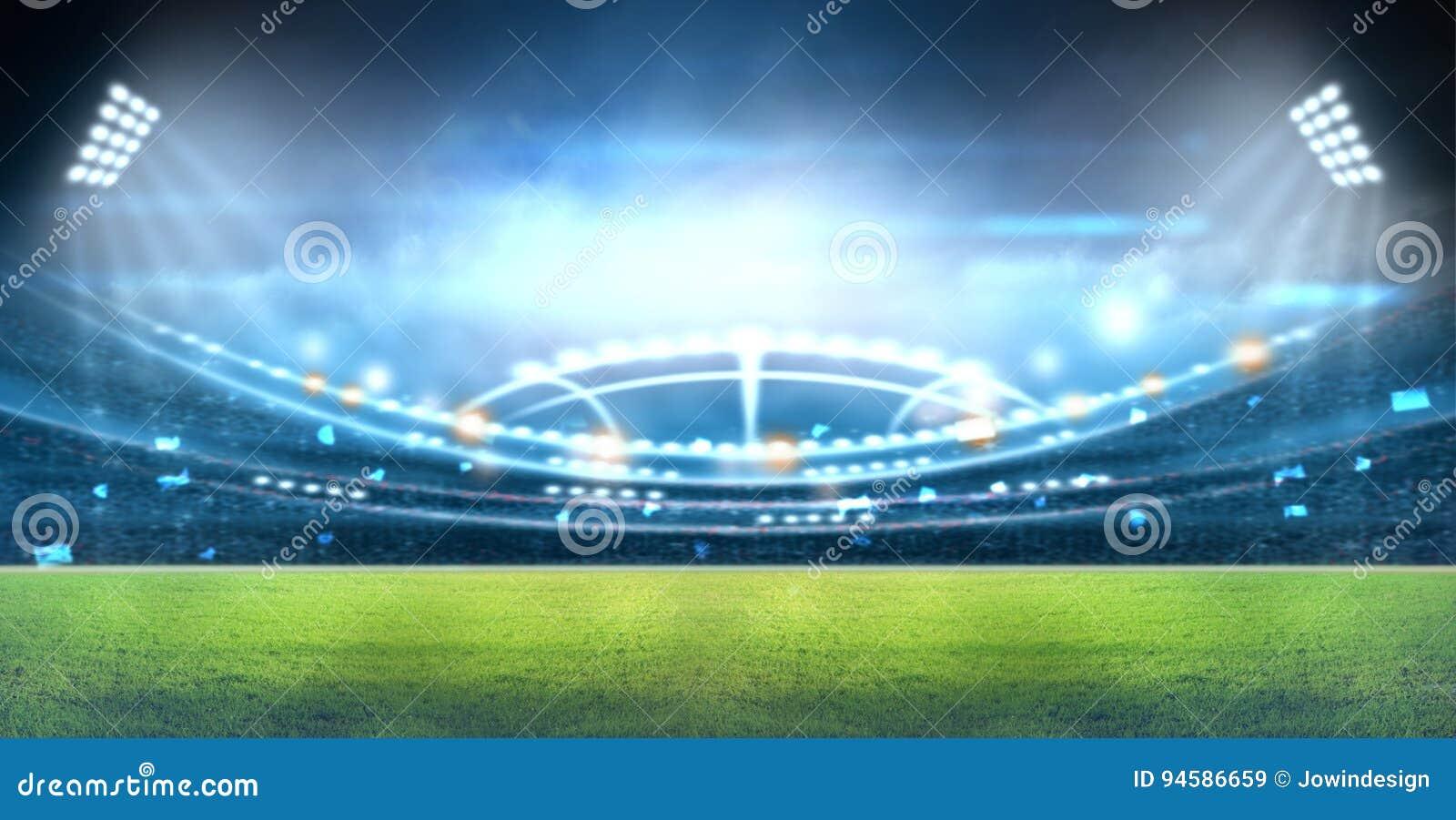 光和闪光的3d体育场