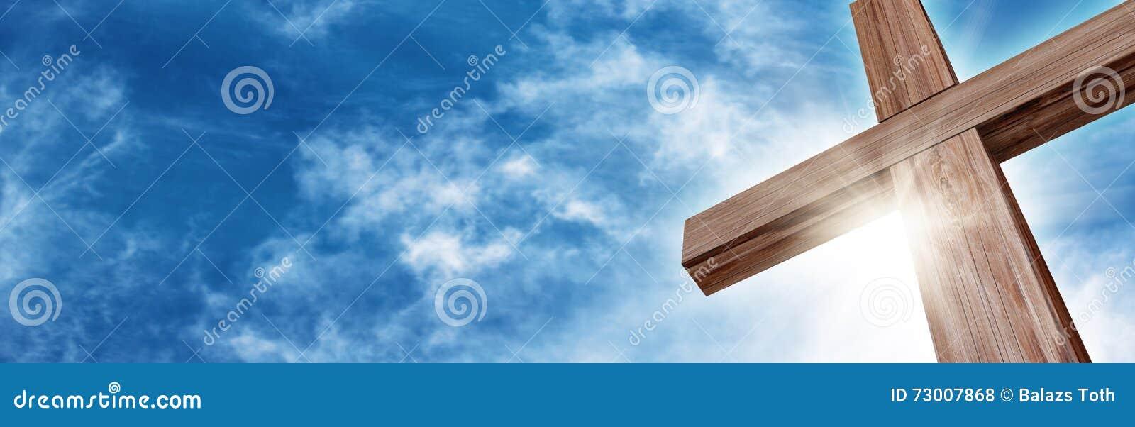 光彩的木十字架
