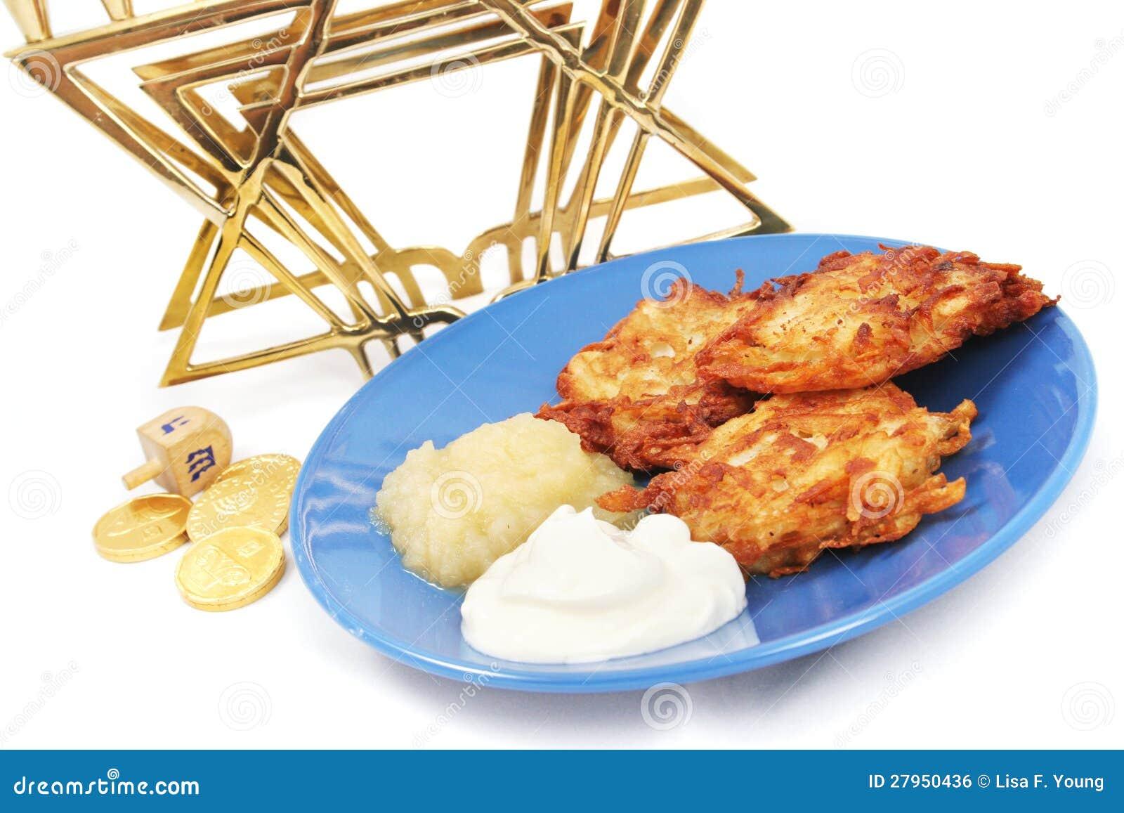 光明节的马铃薯饼Menorah Dreidel和Gelt