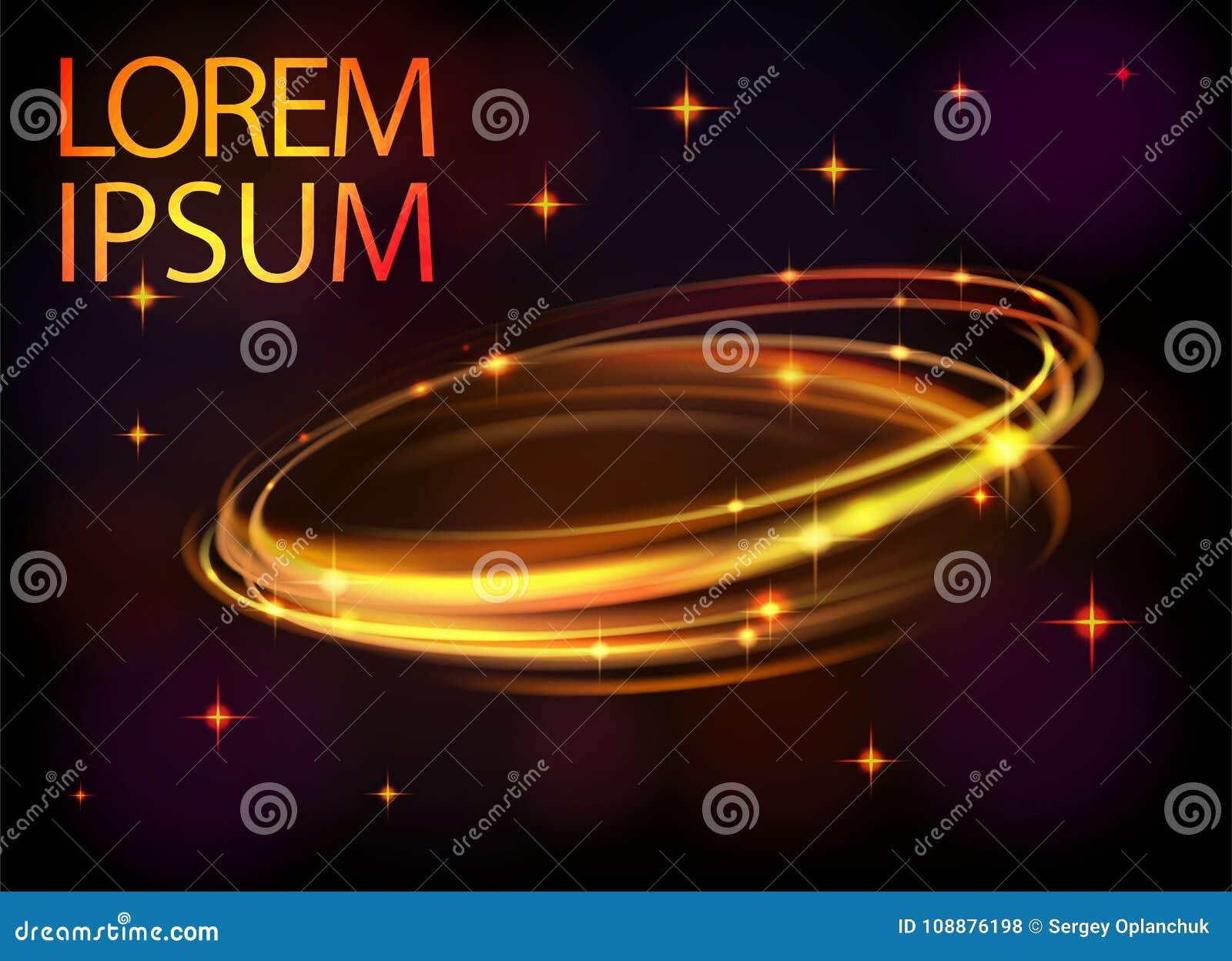 光线影响传染媒介线金圈子 发光的不可思议的轻的火火光圆环踪影 闪烁闪闪发光漩涡足迹作用
