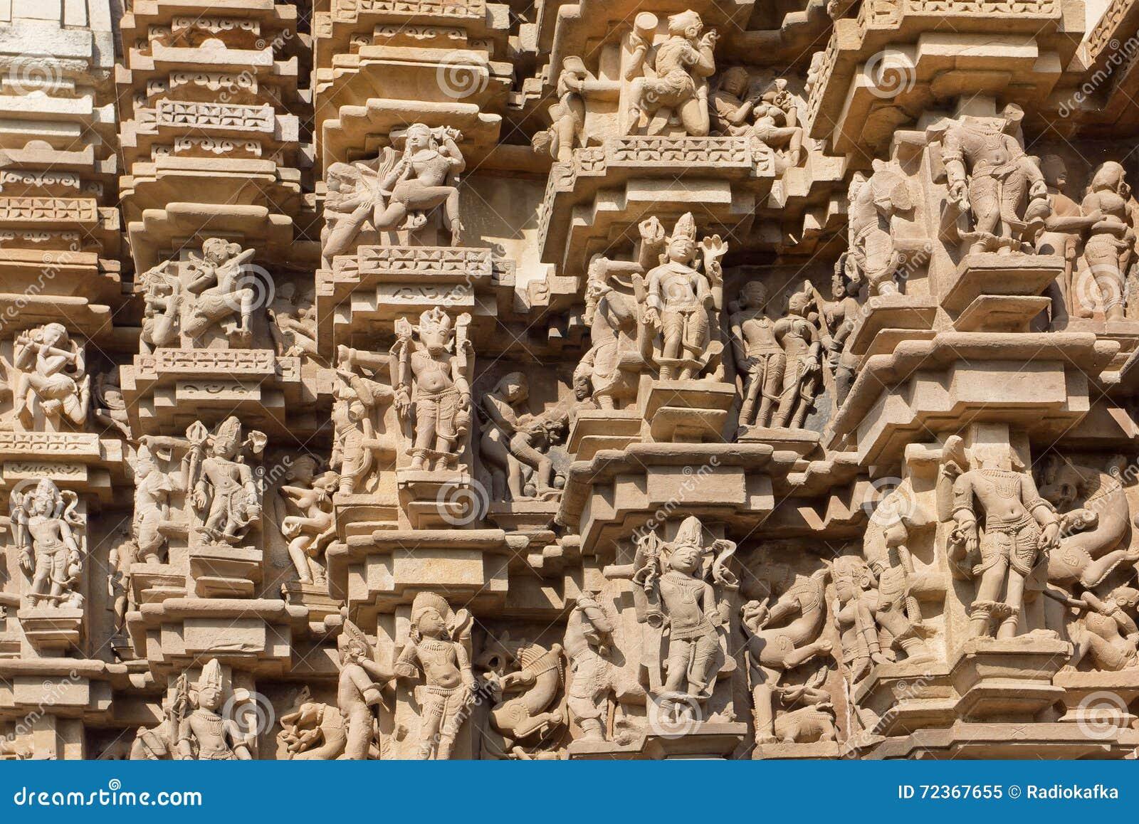 克久拉霍印地安寺庙安心纹理有印度神的 联合国科教文组织遗产站点,被修造在950和1150之间在印度