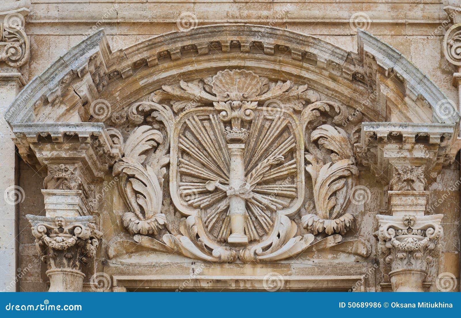 Download 巴洛克式的大厦在古老西勒鸠斯 库存照片. 图片 包括有 大厦, 入口, 造型, 地中海, 拱道, 石头, 西勒鸠斯 - 50689986