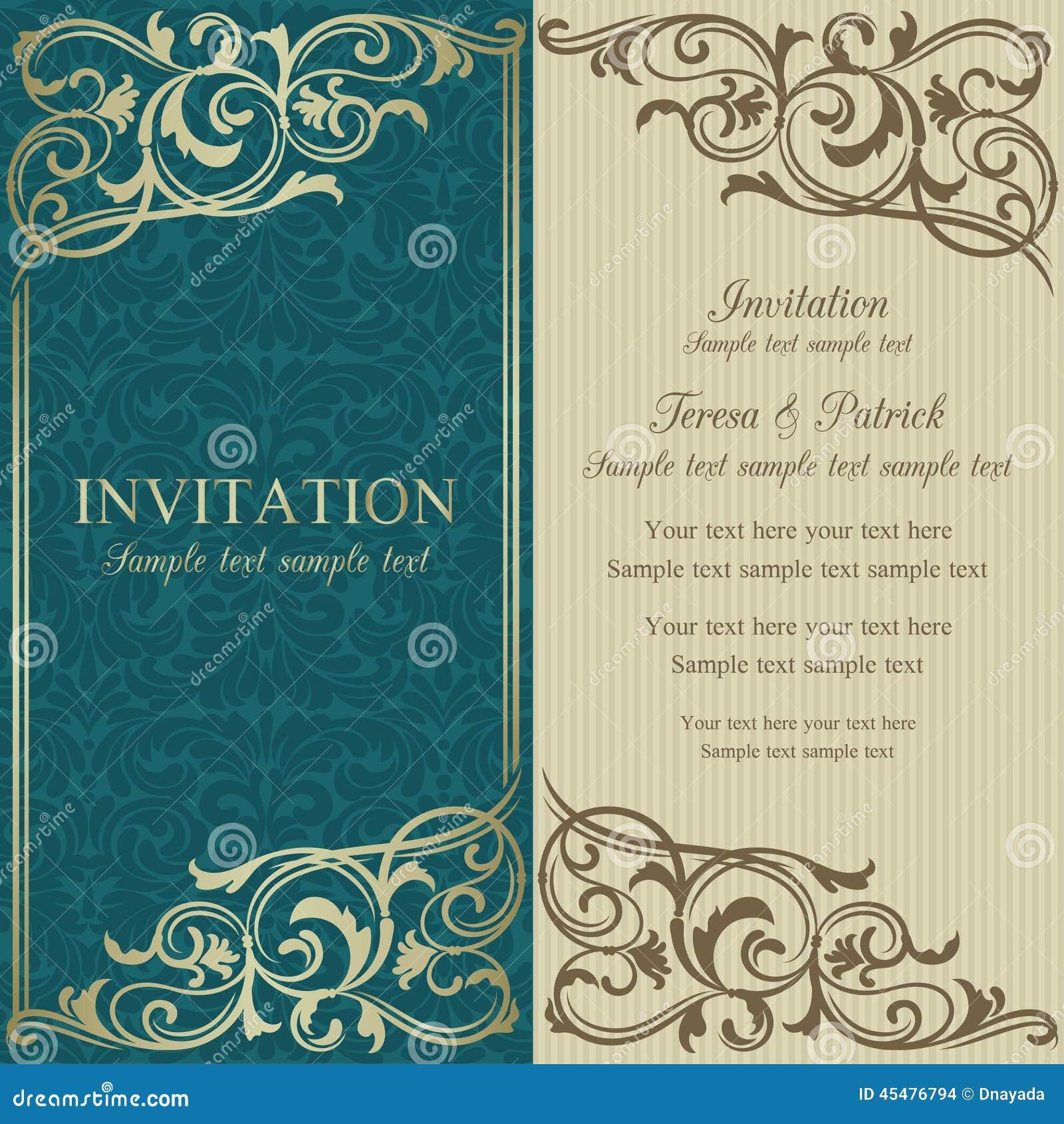 巴洛克式的邀请、蓝色和灰棕色