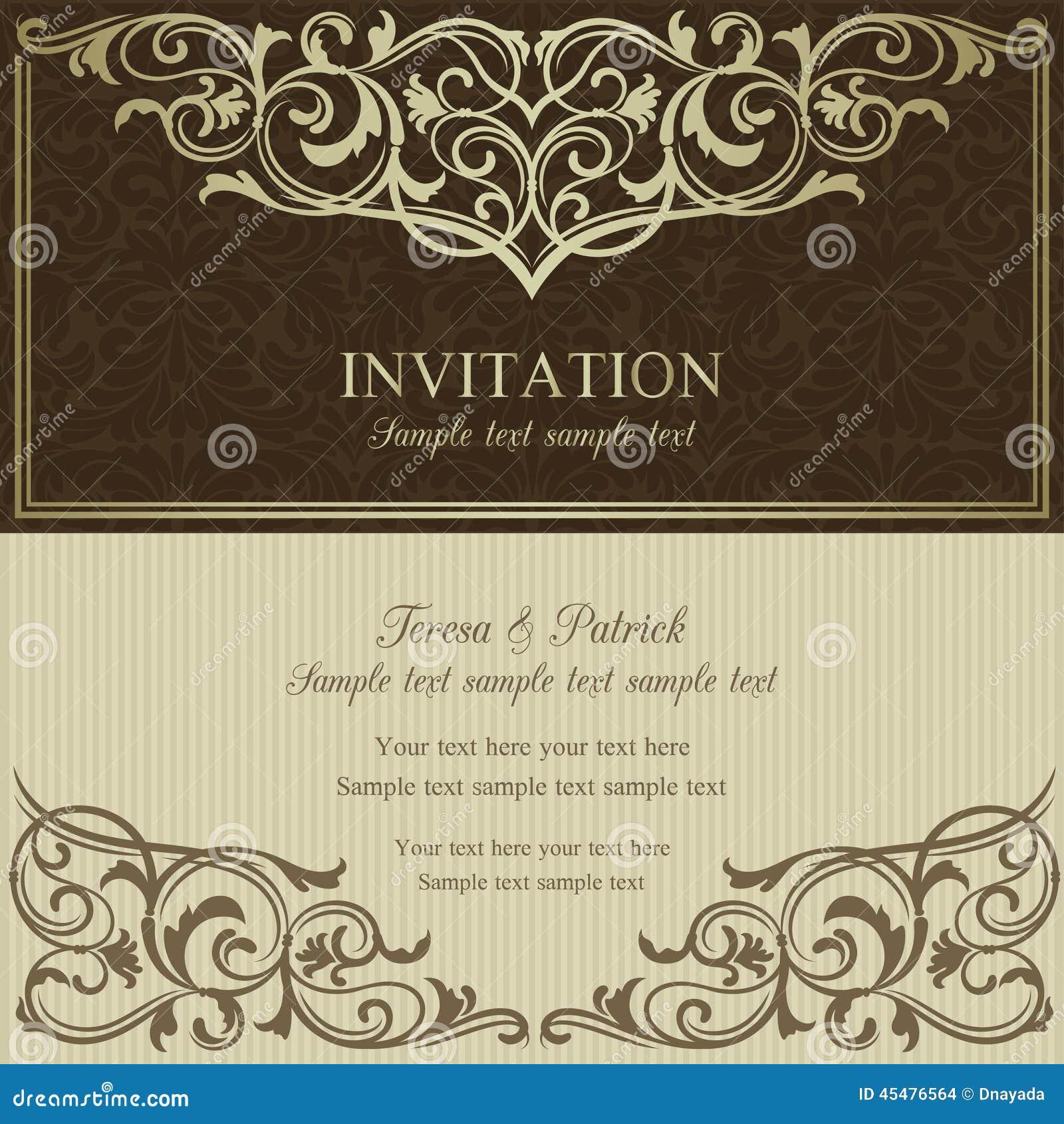 巴洛克式的邀请、褐色和灰棕色