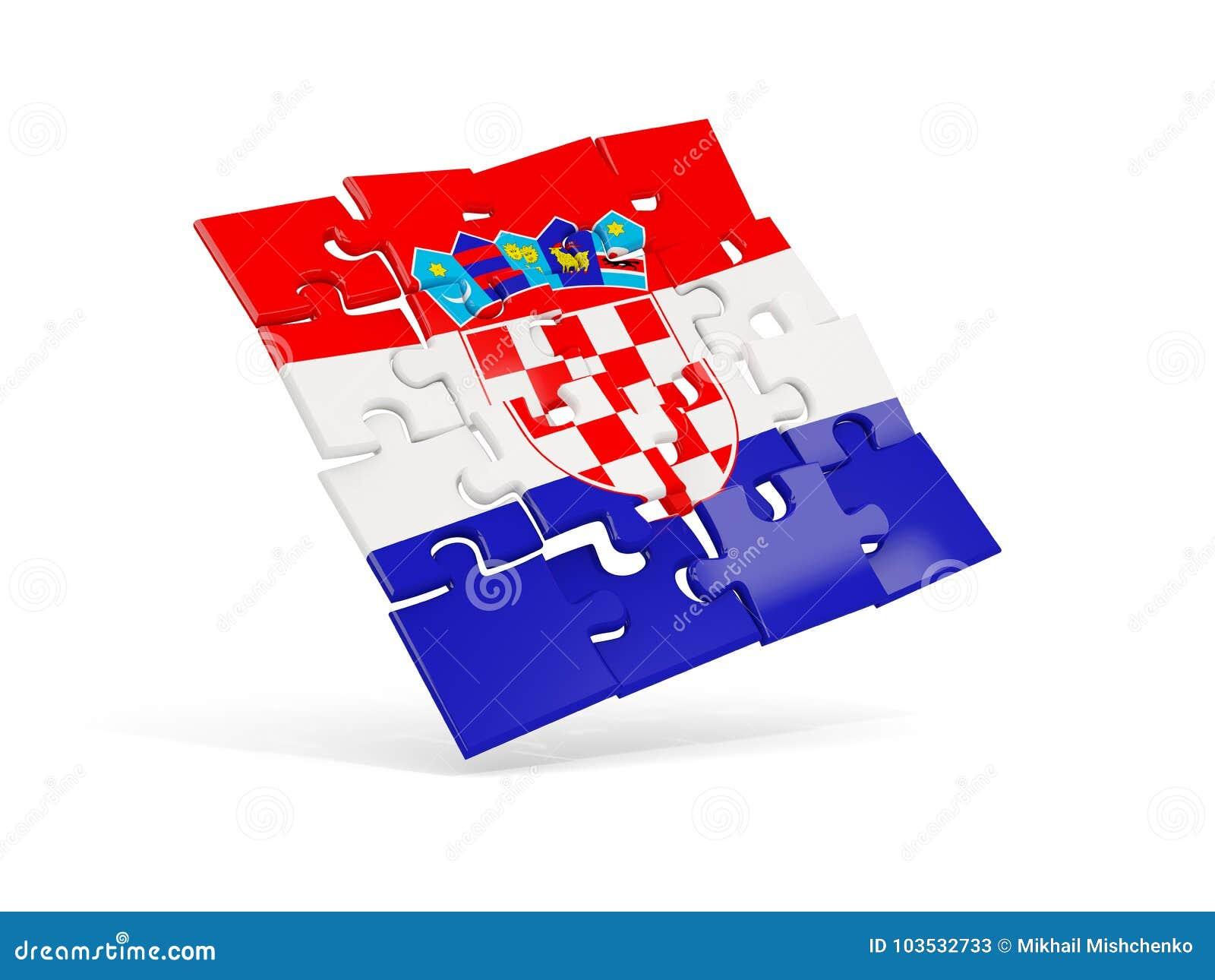 克罗地亚的难题旗子在白色隔绝了