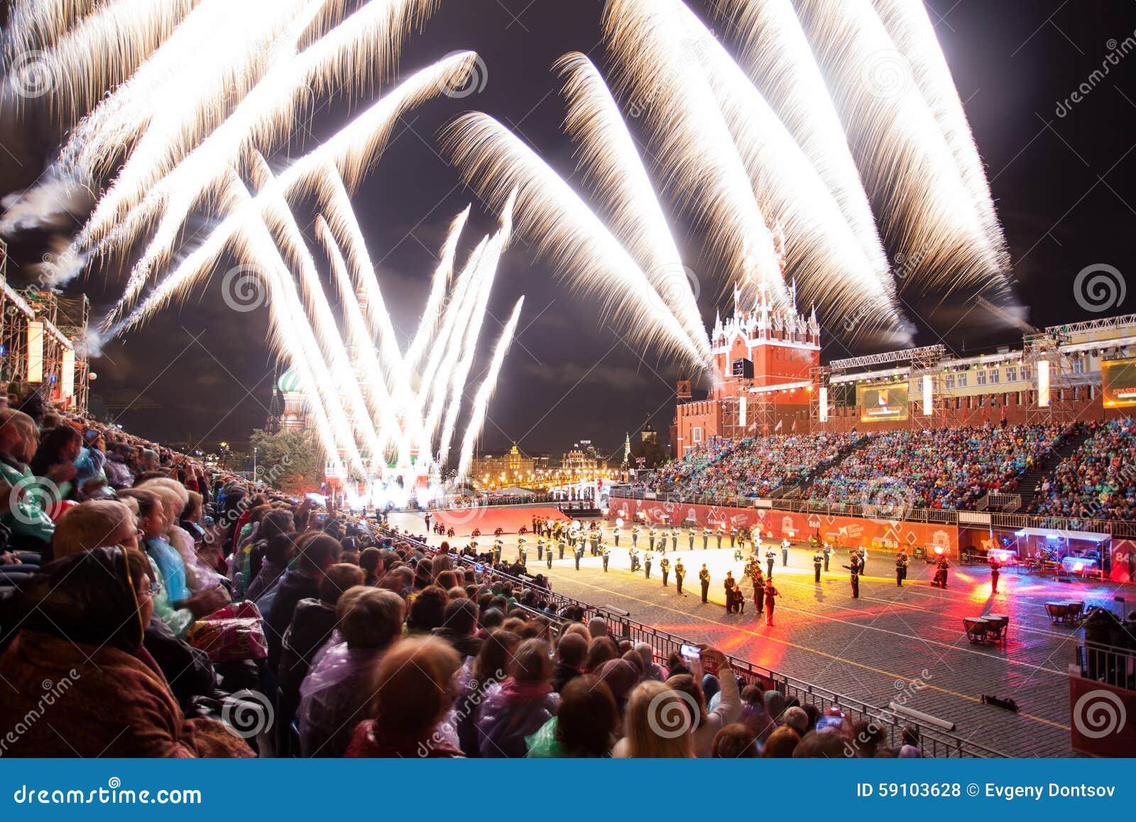 克里姆林宫军事纹身花刺音乐节在红场