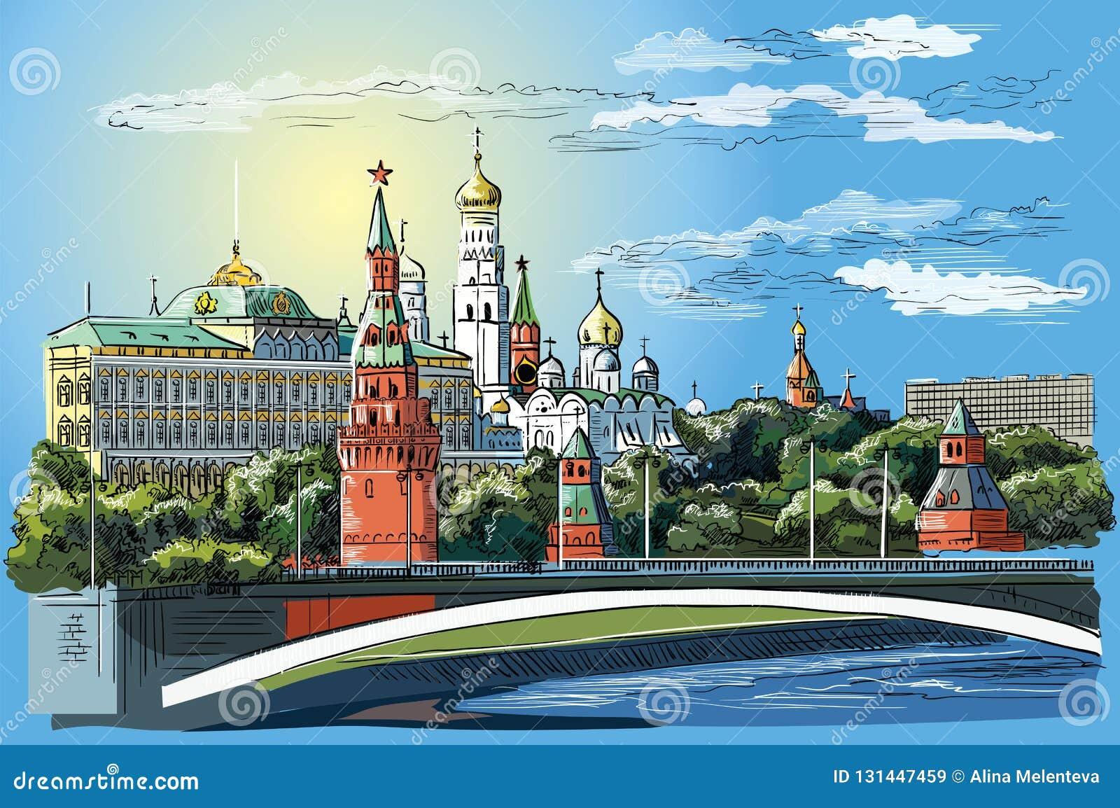克里姆林宫塔和桥梁的堤防都市风景横跨莫斯科河红场,莫斯科,俄罗斯五颜六色的被隔绝的传染媒介