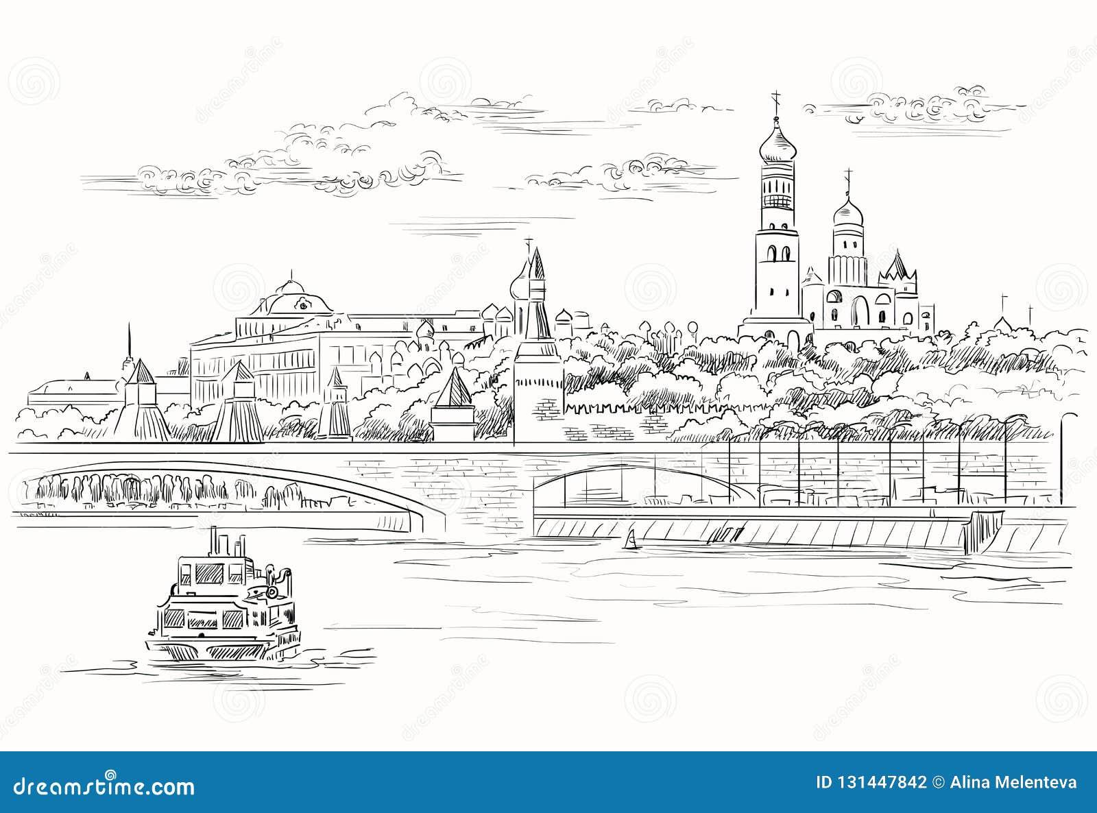 克里姆林宫塔和桥梁的堤防都市风景横跨莫斯科河红场,莫斯科,俄罗斯隔绝了传染媒介手图画