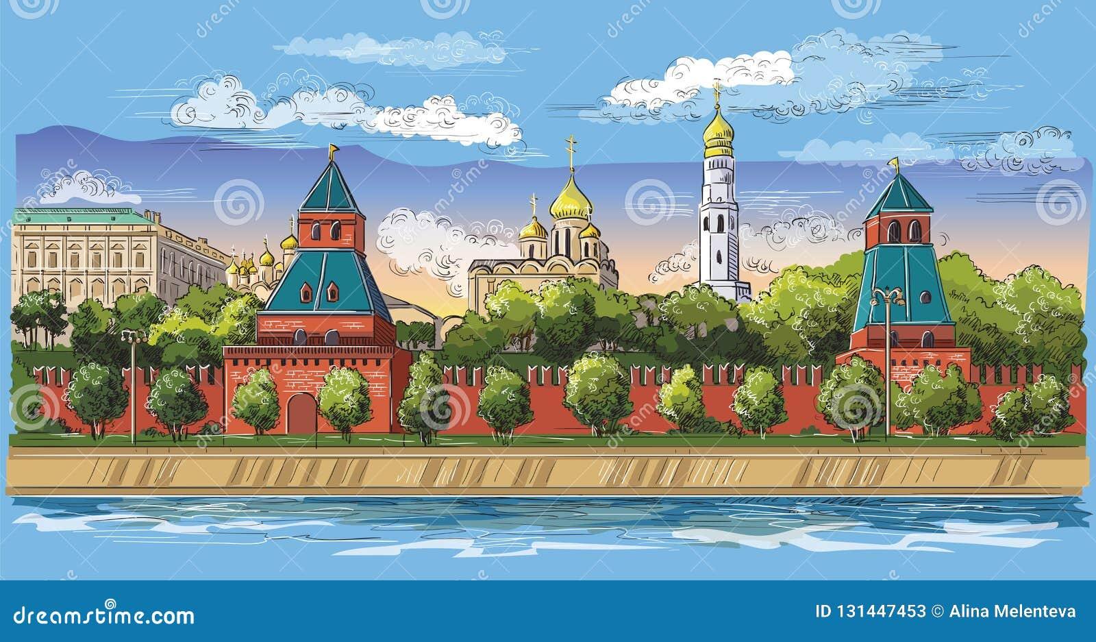 克里姆林宫塔和莫斯科河红场,莫斯科,俄罗斯五颜六色的被隔绝的传染媒介手图画的堤防都市风景