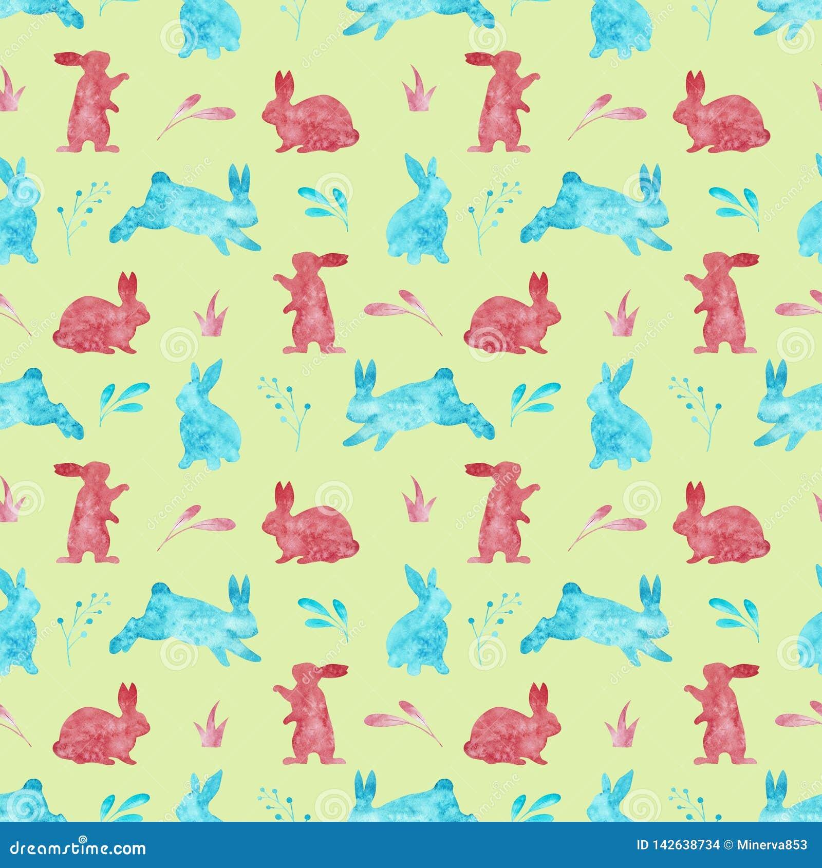 兔子的无缝的样式 背景上色了复活节彩蛋eps8格式红色郁金香向量 额嘴装饰飞行例证图象其纸部分燕子水彩