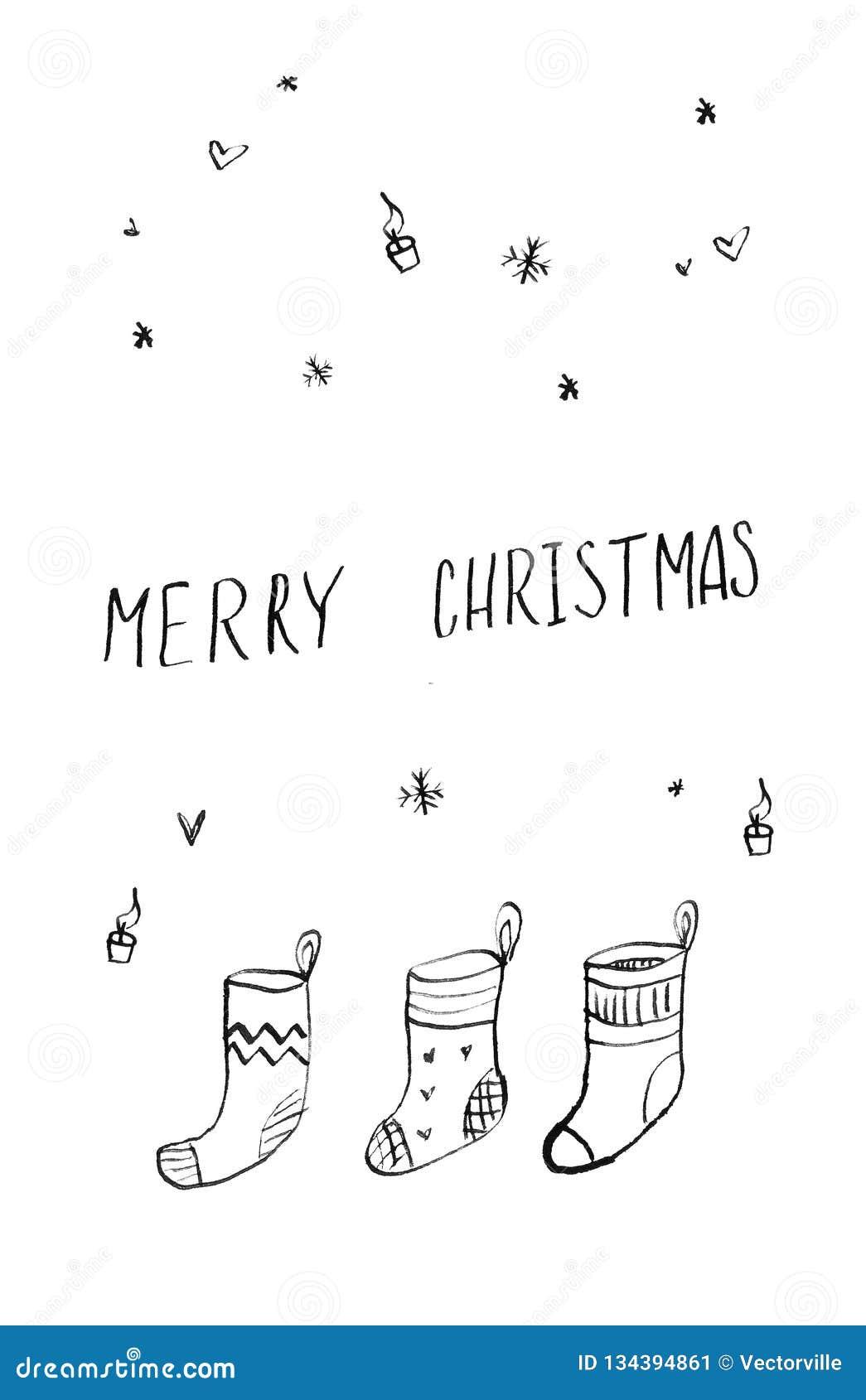 党邀请手拉的圣诞快乐和新年快乐卡片海报 逗人喜爱的滑稽的礼物袜子哄骗例证 做的动画片