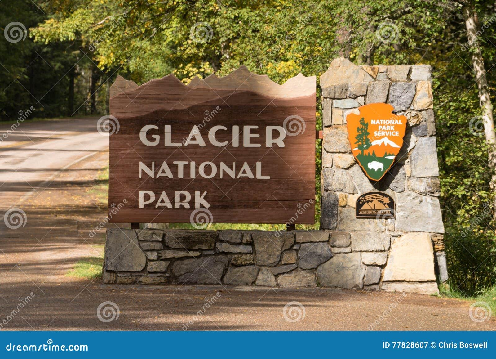 入口冰川国家公园可喜的迹象标志蒙大拿