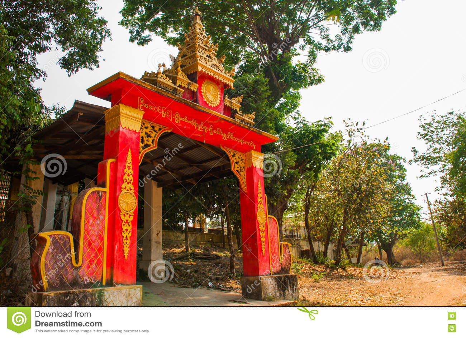 入口寺庙 塔Kyaikpun菩萨 Bago,缅甸 缅甸